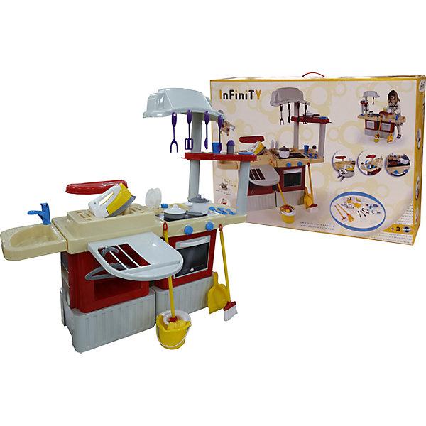 Кухня INFINITY basic №4, ПолесьеДетские кухни<br>Характеристики товара:<br><br>• возраст: от 3 лет<br>• комплект: детская кухня, набор посуды, аксессуары.<br>• тип батареек: на батарейках.<br>• материал: пластик.<br>• размер упаковки: 87х60х22 см.<br>• упаковка: картонная коробка.<br>• размер кухни: 108х100х61 см.<br>• страна бренда: Беларусь.<br><br>Игровой набор InFiniTy Basic № 4 от компании Полесье поразит девочку множеством предметов, их увлекательным дизайном, яркими красками и широкими игровыми возможностями. <br><br>Набор является игровым комплексом в который входят плита с духовкой, вытяжка, полочки для посуды, посуда, раковина, гладильная доска, сушилка, плечики для одежды, утюг, предметы для уборки. Световые и звуковые эффекты выгодно дополнят игру. <br><br>Кухню INFINITY basic №4, Полесье можно купить в нашем интернет-магазине.<br>Ширина мм: 875; Глубина мм: 220; Высота мм: 600; Вес г: 5852; Возраст от месяцев: 36; Возраст до месяцев: 2147483647; Пол: Женский; Возраст: Детский; SKU: 6760776;