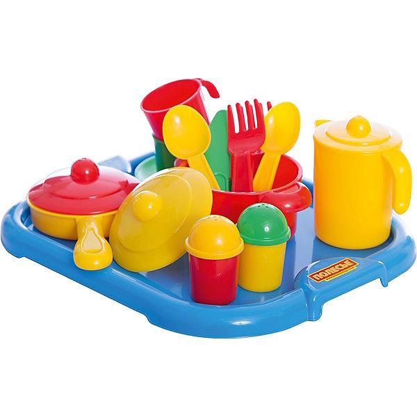 Набор детской посуды Настенька с подносом, ПолесьеДетские кухни<br>Характеристики товара:<br><br>• возраст: от 2 лет<br>• материал: пластмасса<br>• размер упаковки: 26х31х10 см<br>• страна обладатель бренда: Беларусь.<br><br>Представленный набор посуды рассчитан на 2 персоны. Такая посудка позволит девочке устраивать веселые посиделки со своими подружками, выпить с ними чашечку чая или же накормить и напоить своих кукол. <br><br>Комплект: чайник с крышкой, 2 чашки, вилки, чайные ложки, блюдечки, ножи, сковородка с крышкой, кастрюлька с крышкой, солонка, перечница, поднос.<br><br>Набор детской посуды Настенька с подносом, Полесье можно купить вннашем интернет-магазине.<br><br>Ширина мм: 310<br>Глубина мм: 255<br>Высота мм: 90<br>Вес г: 345<br>Возраст от месяцев: 36<br>Возраст до месяцев: 2147483647<br>Пол: Женский<br>Возраст: Детский<br>SKU: 6760798