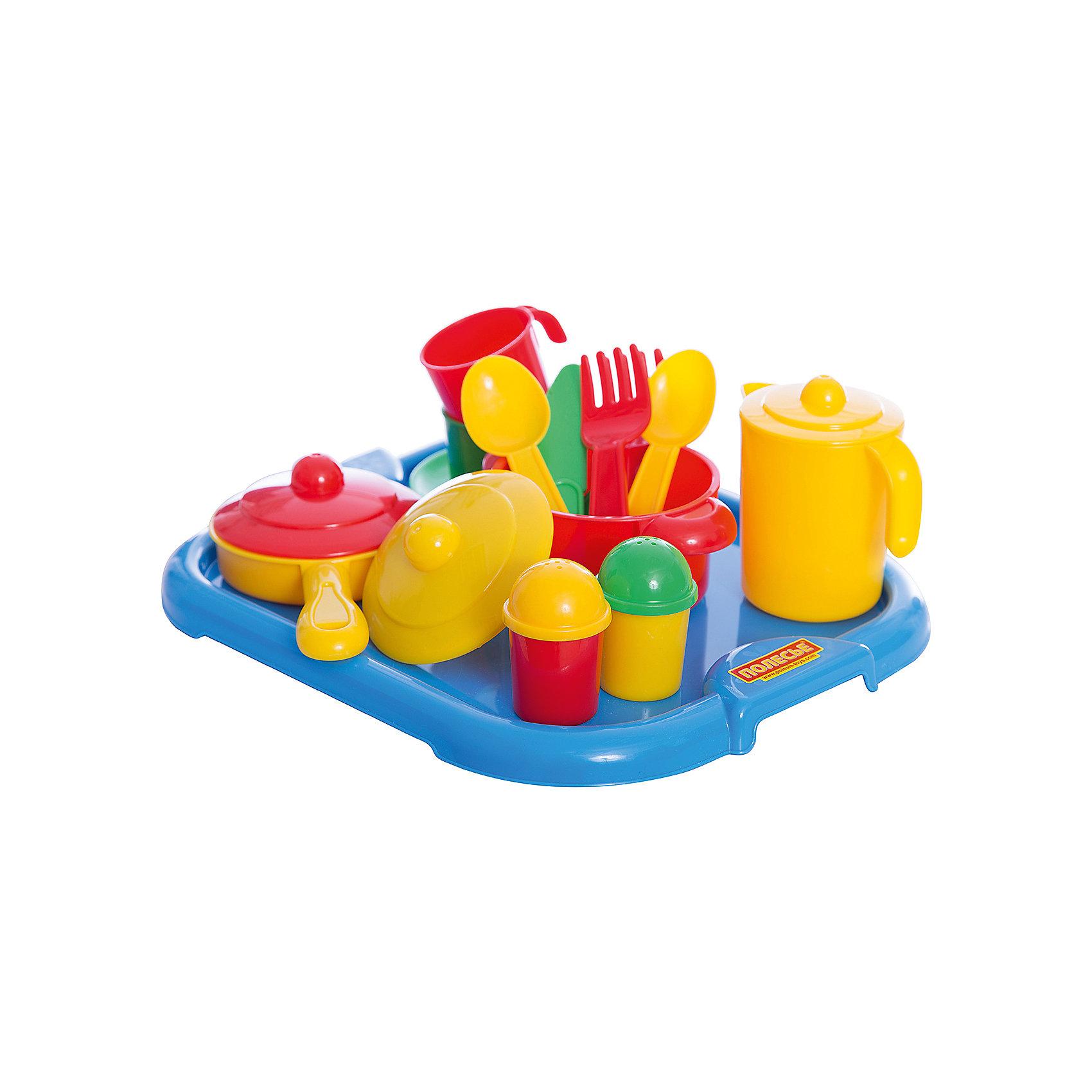 Набор детской посуды Настенька с подносом, ПолесьеПосуда и аксессуары для детской кухни<br>Характеристики товара:<br><br>• возраст: от 2 лет<br>• материал: пластмасса<br>• размер упаковки: 26х31х10 см<br>• страна обладатель бренда: Беларусь.<br><br>Представленный набор посуды рассчитан на 2 персоны. Такая посудка позволит девочке устраивать веселые посиделки со своими подружками, выпить с ними чашечку чая или же накормить и напоить своих кукол. <br><br>Комплект: чайник с крышкой, 2 чашки, вилки, чайные ложки, блюдечки, ножи, сковородка с крышкой, кастрюлька с крышкой, солонка, перечница, поднос.<br><br>Набор детской посуды Настенька с подносом, Полесье можно купить вннашем интернет-магазине.<br><br>Ширина мм: 310<br>Глубина мм: 255<br>Высота мм: 90<br>Вес г: 345<br>Возраст от месяцев: 36<br>Возраст до месяцев: 2147483647<br>Пол: Женский<br>Возраст: Детский<br>SKU: 6760798
