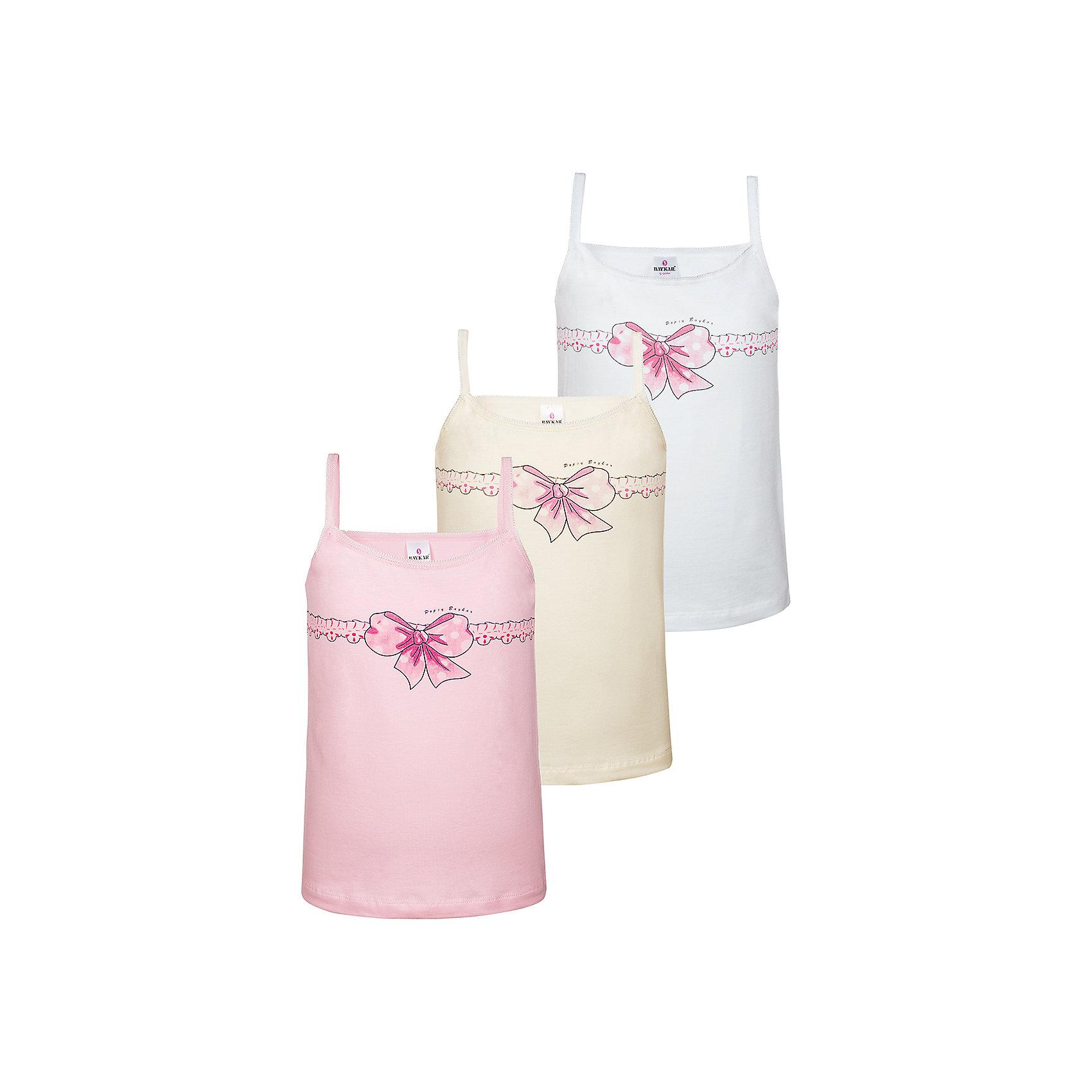 Майка (3 шт.) для девочки BaykarНижнее бельё<br>Характеристики товара:<br><br>• цвет: розовый, бежевый, белый<br>• состав ткани: 95% хлопок; 5% эластан<br>• комплектация: 3 шт<br>• тонкие бретельки<br>• сезон: круглый год<br>• страна бренда: Турция<br>• страна изготовитель: Турция<br><br>Удобное нижнее белье для девочки Baykar долго служит и отлично выдерживает много стирок. Мягкая обработка краев обеспечивает комфортную посадку.<br><br>Качественные хлопковые майки декорированы симпатичным принтом. Набор из трех маек для девочки Baykar - пример красивого и удобного нижнего белья. <br><br>Майку (3 шт.) для девочки Baykar (Байкар) можно купить в нашем интернет-магазине.<br><br>Ширина мм: 196<br>Глубина мм: 10<br>Высота мм: 154<br>Вес г: 152<br>Цвет: белый<br>Возраст от месяцев: 36<br>Возраст до месяцев: 48<br>Пол: Женский<br>Возраст: Детский<br>Размер: 98/104,134/140,110/116,122/128<br>SKU: 6763084