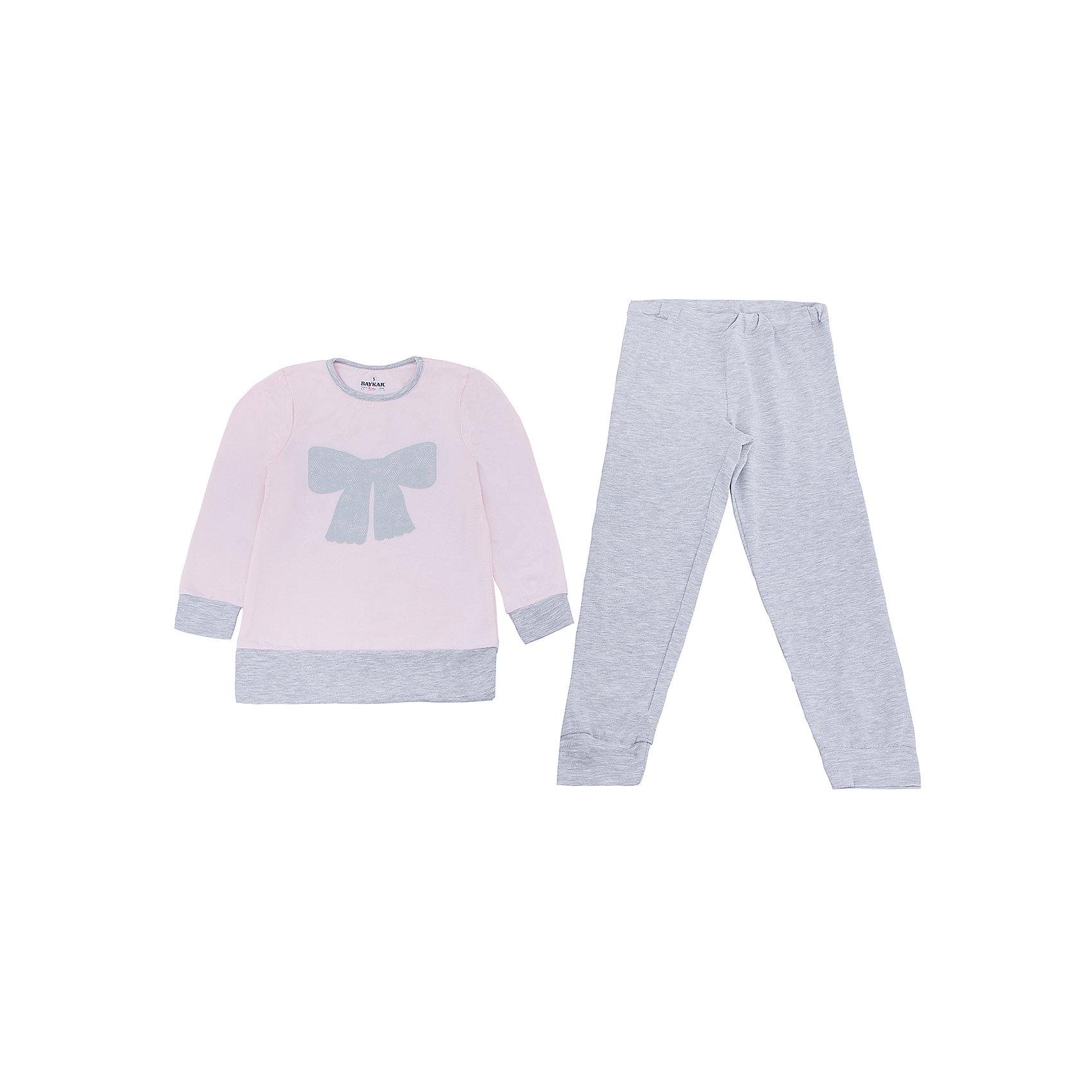Пижама для девочки BaykarПижамы и сорочки<br>Характеристики товара:<br><br>• цвет: розовый<br>• состав ткани: 48% модал; 48% хлопок; 4% эластан<br>• комплектация: кофта, брюки<br>• пояс брюк: резинка<br>• манжеты<br>• сезон: круглый год<br>• страна бренда: Турция<br>• страна изготовитель: Турция<br><br>Качественная пижама для девочки позволяет обеспечить комфортный сон. Этот комплект для сна из кофты и брюк сделан из мягкого дышащего материала. <br><br>Пижама для девочки Baykar украшена симпатичным принтом. Мягкие манжеты обеспечивают комфортную посадку.<br><br>Пижаму для девочки Baykar (Байкар) можно купить в нашем интернет-магазине.<br><br>Ширина мм: 281<br>Глубина мм: 70<br>Высота мм: 188<br>Вес г: 295<br>Цвет: розовый<br>Возраст от месяцев: 72<br>Возраст до месяцев: 84<br>Пол: Женский<br>Возраст: Детский<br>Размер: 116/122,110/116,98/104,104/110<br>SKU: 6764714