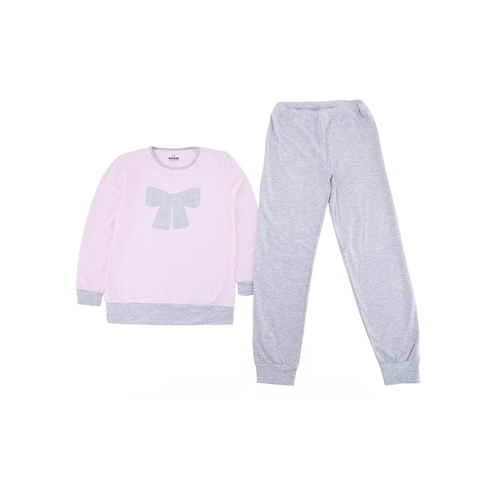 Пижама для девочки BaykarПижамы и сорочки<br>Характеристики товара:<br><br>• цвет: розовый<br>• состав ткани: 48% модал; 48% хлопок; 4% эластан<br>• комплектация: кофта, брюки<br>• пояс брюк: резинка<br>• манжеты<br>• сезон: круглый год<br>• страна бренда: Турция<br>• страна изготовитель: Турция<br><br>Пижама для девочки Baykar украшена симпатичным принтом. Этот комплект для сна из кофты и брюк сделан из мягкого дышащего материала. <br><br>Мягкие манжеты обеспечивают комфортную посадку. Качественная пижама для девочки позволяет обеспечить комфортный сон.<br><br>Пижаму для девочки Baykar (Байкар) можно купить в нашем интернет-магазине.<br><br>Ширина мм: 281<br>Глубина мм: 70<br>Высота мм: 188<br>Вес г: 295<br>Цвет: розовый<br>Возраст от месяцев: 108<br>Возраст до месяцев: 120<br>Пол: Женский<br>Возраст: Детский<br>Размер: 134/140,140/146,122/128,128/134<br>SKU: 6764719