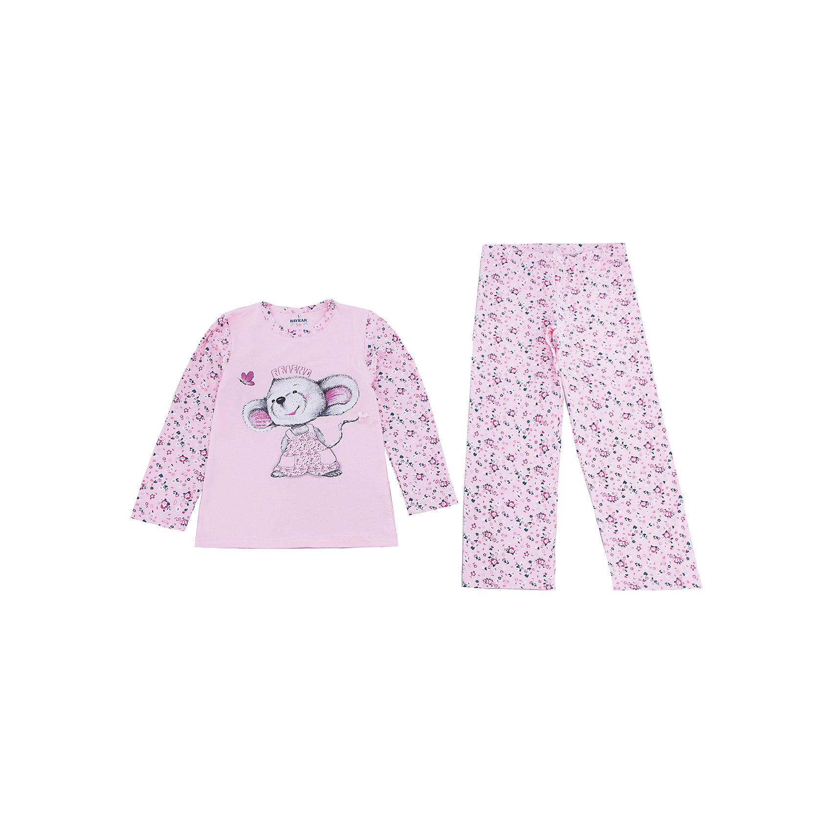 Пижама для девочки BaykarПижамы и сорочки<br>Характеристики товара:<br><br>• цвет: розовый<br>• состав ткани: 95% хлопок; 5% эластан<br>• комплектация: кофта, брюки<br>• пояс брюк: резинка<br>• сезон: круглый год<br>• страна бренда: Турция<br>• страна изготовитель: Турция<br><br>Правильно подобранная пижама для девочки позволяет обеспечить комфортный сон. Этот комплект для сна из кофты и брюк сделан из мягкого дышащего материала. <br><br>Материал с преобладание хлопка в составе отлично подходит для одежды для сна. Пижама для девочки Baykar украшена симпатичным принтом. <br><br>Пижаму для девочки Baykar (Байкар) можно купить в нашем интернет-магазине.<br><br>Ширина мм: 281<br>Глубина мм: 70<br>Высота мм: 188<br>Вес г: 295<br>Цвет: белый<br>Возраст от месяцев: 72<br>Возраст до месяцев: 84<br>Пол: Женский<br>Возраст: Детский<br>Размер: 116/122,98/104,104/110,110/116<br>SKU: 6764724