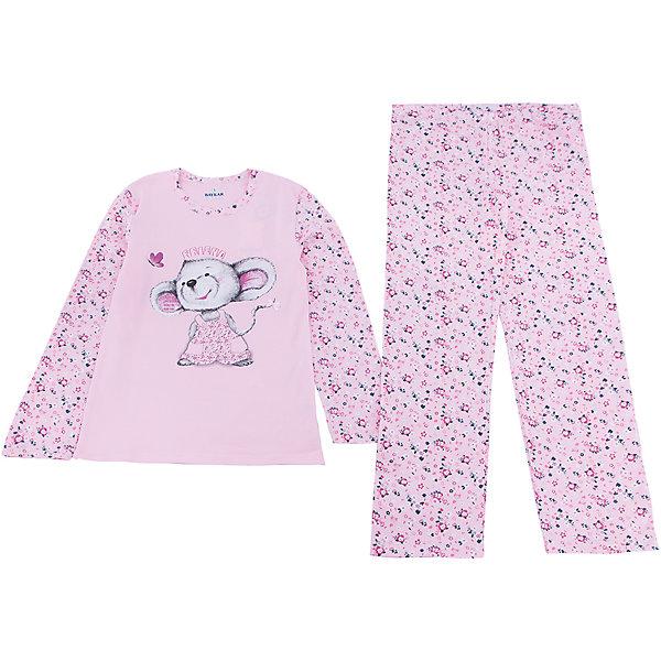 Пижама для девочки BaykarПижамы и сорочки<br>Характеристики товара:<br><br>• цвет: розовый<br>• состав ткани: 95% хлопок; 5% эластан<br>• комплектация: кофта, брюки<br>• пояс брюк: резинка<br>• сезон: круглый год<br>• страна бренда: Турция<br>• страна изготовитель: Турция<br><br>Качественная пижама для девочки позволяет обеспечить комфортный сон. Этот комплект для сна из кофты и брюк сделан из мягкого дышащего материала. <br><br>Пижама для девочки Baykar украшена симпатичным принтом. Свободный крой обеспечивает комфортную посадку.<br><br>Пижаму для девочки Baykar (Байкар) можно купить в нашем интернет-магазине.<br><br>Ширина мм: 281<br>Глубина мм: 70<br>Высота мм: 188<br>Вес г: 295<br>Цвет: белый<br>Возраст от месяцев: 120<br>Возраст до месяцев: 132<br>Пол: Женский<br>Возраст: Детский<br>Размер: 140/146,122/128,128/134,134/140<br>SKU: 6764729