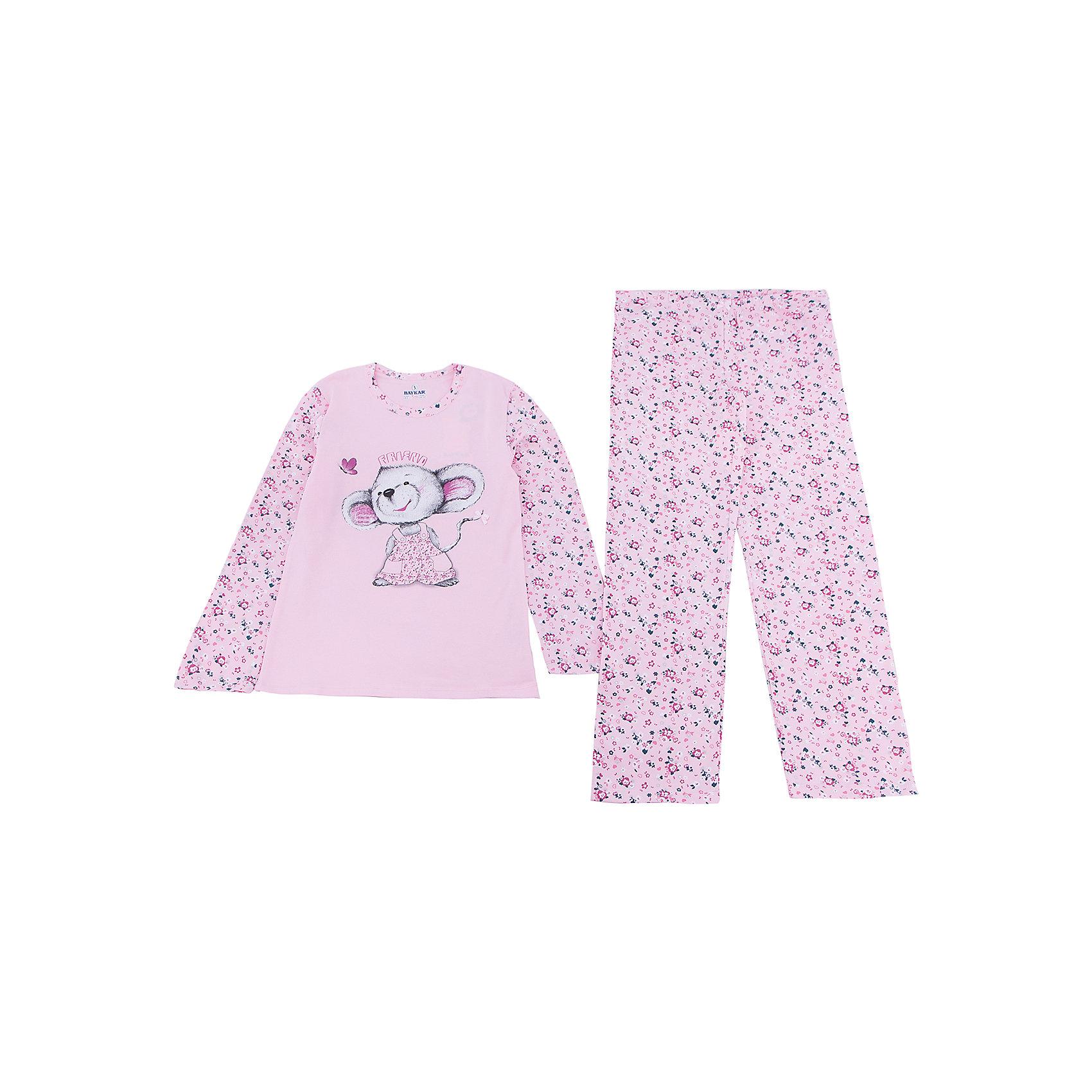 Пижама для девочки BaykarПижамы и сорочки<br>Характеристики товара:<br><br>• цвет: розовый<br>• состав ткани: 95% хлопок; 5% эластан<br>• комплектация: кофта, брюки<br>• пояс брюк: резинка<br>• сезон: круглый год<br>• страна бренда: Турция<br>• страна изготовитель: Турция<br><br>Качественная пижама для девочки позволяет обеспечить комфортный сон. Этот комплект для сна из кофты и брюк сделан из мягкого дышащего материала. <br><br>Пижама для девочки Baykar украшена симпатичным принтом. Свободный крой обеспечивает комфортную посадку.<br><br>Пижаму для девочки Baykar (Байкар) можно купить в нашем интернет-магазине.<br><br>Ширина мм: 281<br>Глубина мм: 70<br>Высота мм: 188<br>Вес г: 295<br>Цвет: белый<br>Возраст от месяцев: 120<br>Возраст до месяцев: 132<br>Пол: Женский<br>Возраст: Детский<br>Размер: 140/146,134/140,122/128,128/134<br>SKU: 6764729