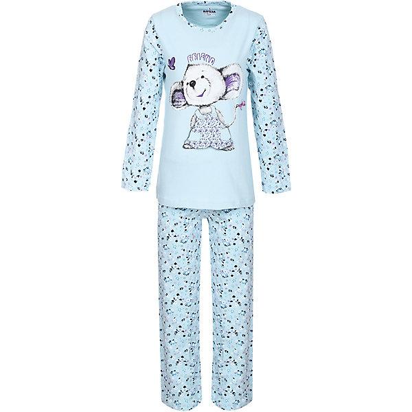 Пижама для девочки BaykarПижамы и сорочки<br>Характеристики товара:<br><br>• цвет: голубой<br>• состав ткани: 95% хлопок; 5% эластан<br>• комплектация: кофта, брюки<br>• пояс брюк: резинка<br>• сезон: круглый год<br>• страна бренда: Турция<br>• страна изготовитель: Турция<br><br>Пижама для девочки Baykar украшена симпатичным принтом. Этот комплект для сна из кофты и брюк сделан из мягкого дышащего материала. <br><br>Продуманный крой обеспечивает комфортную посадку. Голубая пижама для девочки позволяет обеспечить комфортный сон.<br><br>Пижаму для девочки Baykar (Байкар) можно купить в нашем интернет-магазине.<br>Ширина мм: 281; Глубина мм: 70; Высота мм: 188; Вес г: 295; Цвет: белый; Возраст от месяцев: 84; Возраст до месяцев: 96; Пол: Женский; Возраст: Детский; Размер: 140/146,134/140,128/134,122/128; SKU: 6764739;