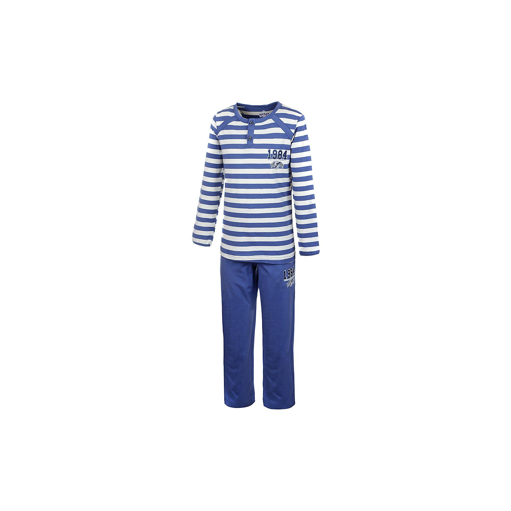 Пижама для мальчика BaykarПижамы и сорочки<br>Характеристики товара:<br><br>• цвет: синий<br>• состав ткани: 95% хлопок; 5% эластан<br>• комплектация: кофта, брюки<br>• пояс брюк: резинка<br>• сезон: круглый год<br>• страна бренда: Турция<br>• страна изготовитель: Турция<br><br>Пижама для мальчика Baykar украшена симпатичным принтом. Этот комплект для сна из кофты и брюк сделан из мягкого дышащего материала. <br><br>Продуманный крой обеспечивает комфортную посадку. Качественная пижама для мальчика позволяет обеспечить комфортный сон.<br><br>Пижаму для мальчика Baykar (Байкар) можно купить в нашем интернет-магазине.<br><br>Ширина мм: 281<br>Глубина мм: 70<br>Высота мм: 188<br>Вес г: 295<br>Цвет: белый<br>Возраст от месяцев: 72<br>Возраст до месяцев: 84<br>Пол: Мужской<br>Возраст: Детский<br>Размер: 116/122,98/104,104/110,110/116<br>SKU: 6764749
