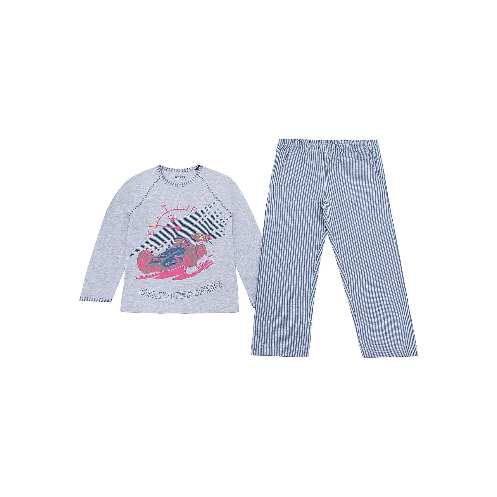 Пижама для мальчика BaykarПижамы и сорочки<br>Характеристики товара:<br><br>• цвет: серый<br>• состав ткани: 95% хлопок; 5% эластан<br>• комплектация: кофта, брюки<br>• пояс брюк: резинка<br>• сезон: круглый год<br>• страна бренда: Турция<br>• страна изготовитель: Турция<br><br>Серая пижама для мальчика Baykar украшена симпатичным принтом. Этот комплект для сна из кофты и брюк сделан из мягкого дышащего материала. <br><br>Продуманный крой обеспечивает комфортную посадку. Качественная пижама для мальчика позволяет обеспечить комфортный сон.<br><br>Пижаму для мальчика Baykar (Байкар) можно купить в нашем интернет-магазине.<br><br>Ширина мм: 281<br>Глубина мм: 70<br>Высота мм: 188<br>Вес г: 295<br>Цвет: серый<br>Возраст от месяцев: 72<br>Возраст до месяцев: 84<br>Пол: Мужской<br>Возраст: Детский<br>Размер: 116/122,98/104,104/110,110/116<br>SKU: 6764762