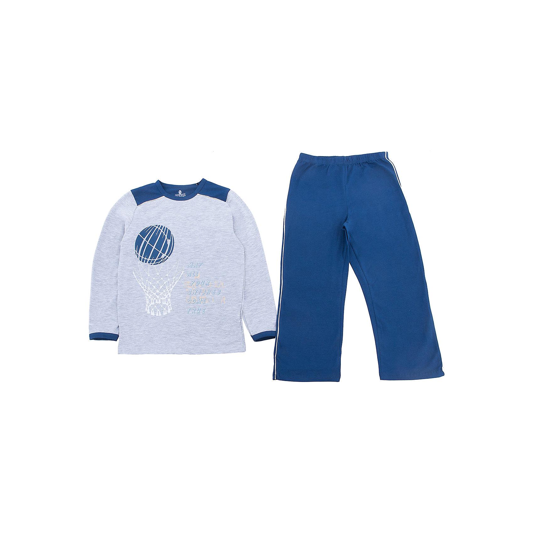 Пижама для мальчика BaykarПижамы и сорочки<br>Характеристики товара:<br><br>• цвет: синий<br>• состав ткани: 95% хлопок; 5% эластан<br>• комплектация: кофта, брюки<br>• пояс брюк: резинка<br>• сезон: круглый год<br>• страна бренда: Турция<br>• страна изготовитель: Турция<br><br>Пижама для мальчика Baykar украшена симпатичным принтом. Этот комплект для сна из кофты и брюк сделан из мягкого дышащего материала. <br><br>Продуманный крой обеспечивает комфортную посадку. Качественная пижама для мальчика позволяет обеспечить комфортный сон.<br><br>Пижаму для мальчика Baykar (Байкар) можно купить в нашем интернет-магазине.<br><br>Ширина мм: 281<br>Глубина мм: 70<br>Высота мм: 188<br>Вес г: 295<br>Цвет: белый<br>Возраст от месяцев: 96<br>Возраст до месяцев: 108<br>Пол: Мужской<br>Возраст: Детский<br>Размер: 128/134,134/140,140/146,122/128<br>SKU: 6764772