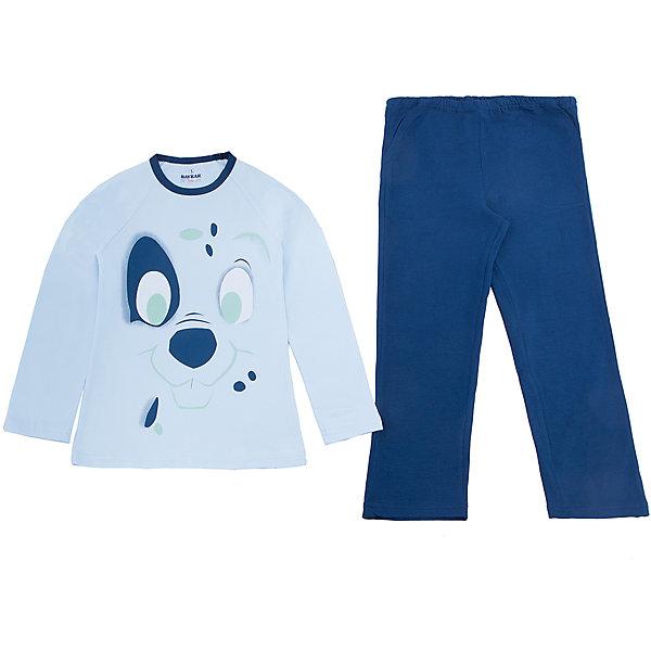 Пижама для мальчика BaykarПижамы и сорочки<br>Характеристики товара:<br><br>• цвет: синий<br>• состав ткани: 95% хлопок; 5% эластан<br>• комплектация: кофта, брюки<br>• пояс брюк: резинка<br>• сезон: круглый год<br>• страна бренда: Турция<br>• страна изготовитель: Турция<br><br>Синяя пижама для мальчика Baykar украшена симпатичным принтом. Этот комплект для сна из кофты и брюк сделан из мягкого дышащего материала. <br><br>Продуманный крой обеспечивает комфортную посадку. Качественная пижама для мальчика позволяет обеспечить комфортный сон.<br><br>Пижаму для мальчика Baykar (Байкар) можно купить в нашем интернет-магазине.<br><br>Ширина мм: 281<br>Глубина мм: 70<br>Высота мм: 188<br>Вес г: 295<br>Цвет: синий<br>Возраст от месяцев: 36<br>Возраст до месяцев: 48<br>Пол: Мужской<br>Возраст: Детский<br>Размер: 98/104,116/122,110/116,104/110<br>SKU: 6764777