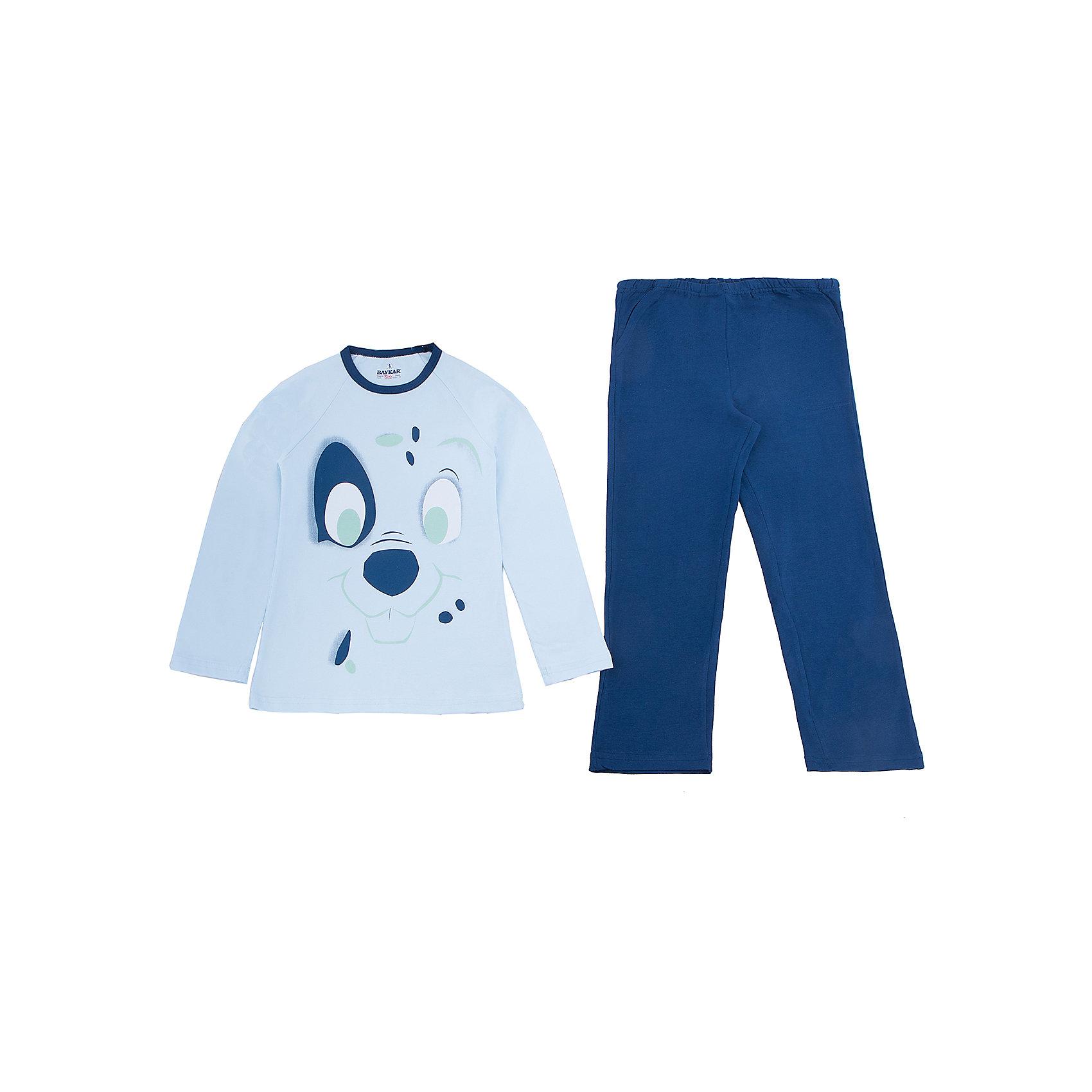 Пижама для мальчика BaykarПижамы и сорочки<br>Характеристики товара:<br><br>• цвет: синий<br>• состав ткани: 95% хлопок; 5% эластан<br>• комплектация: кофта, брюки<br>• пояс брюк: резинка<br>• сезон: круглый год<br>• страна бренда: Турция<br>• страна изготовитель: Турция<br><br>Синяя пижама для мальчика Baykar украшена симпатичным принтом. Этот комплект для сна из кофты и брюк сделан из мягкого дышащего материала. <br><br>Продуманный крой обеспечивает комфортную посадку. Качественная пижама для мальчика позволяет обеспечить комфортный сон.<br><br>Пижаму для мальчика Baykar (Байкар) можно купить в нашем интернет-магазине.<br><br>Ширина мм: 281<br>Глубина мм: 70<br>Высота мм: 188<br>Вес г: 295<br>Цвет: синий<br>Возраст от месяцев: 72<br>Возраст до месяцев: 84<br>Пол: Мужской<br>Возраст: Детский<br>Размер: 116/122,110/116,104/110,98/104<br>SKU: 6764777