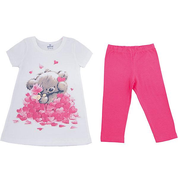 Пижама для девочки BaykarПижамы и сорочки<br>Характеристики товара:<br><br>• цвет: розовый<br>• состав ткани: 95% хлопок; 5% эластан<br>• комплектация: туника, капри<br>• пояс брюк: резинка<br>• сезон: круглый год<br>• страна бренда: Турция<br>• страна изготовитель: Турция<br><br>Хорошо подобранная пижама для девочки позволяет обеспечить комфортный сон. Этот комплект для сна из туники и брюк-капри сделан из мягкого дышащего материала. <br><br>Материал с преобладание хлопка в составе отлично подходит для одежды для сна. Пижама для девочки Baykar украшена симпатичным принтом. <br><br>Пижаму для девочки Baykar (Байкар) можно купить в нашем интернет-магазине.<br><br>Ширина мм: 281<br>Глубина мм: 70<br>Высота мм: 188<br>Вес г: 295<br>Цвет: белый<br>Возраст от месяцев: 72<br>Возраст до месяцев: 84<br>Пол: Женский<br>Возраст: Детский<br>Размер: 116/122,98/104,110/116,104/110<br>SKU: 6764785