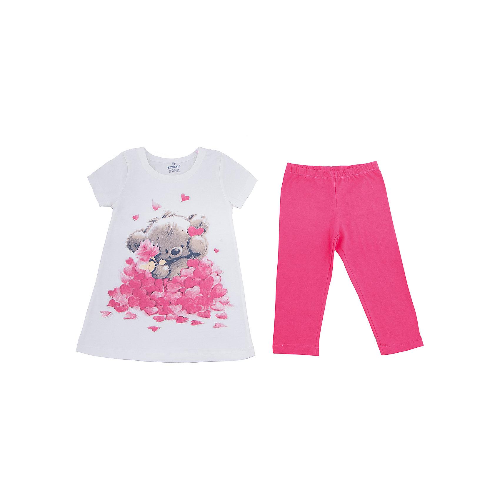 Пижама для девочки BaykarПижамы и сорочки<br>Характеристики товара:<br><br>• цвет: розовый<br>• состав ткани: 95% хлопок; 5% эластан<br>• комплектация: туника, капри<br>• пояс брюк: резинка<br>• сезон: круглый год<br>• страна бренда: Турция<br>• страна изготовитель: Турция<br><br>Хорошо подобранная пижама для девочки позволяет обеспечить комфортный сон. Этот комплект для сна из туники и брюк-капри сделан из мягкого дышащего материала. <br><br>Материал с преобладание хлопка в составе отлично подходит для одежды для сна. Пижама для девочки Baykar украшена симпатичным принтом. <br><br>Пижаму для девочки Baykar (Байкар) можно купить в нашем интернет-магазине.<br><br>Ширина мм: 281<br>Глубина мм: 70<br>Высота мм: 188<br>Вес г: 295<br>Цвет: белый<br>Возраст от месяцев: 72<br>Возраст до месяцев: 84<br>Пол: Женский<br>Возраст: Детский<br>Размер: 116/122,98/104,104/110,110/116<br>SKU: 6764785