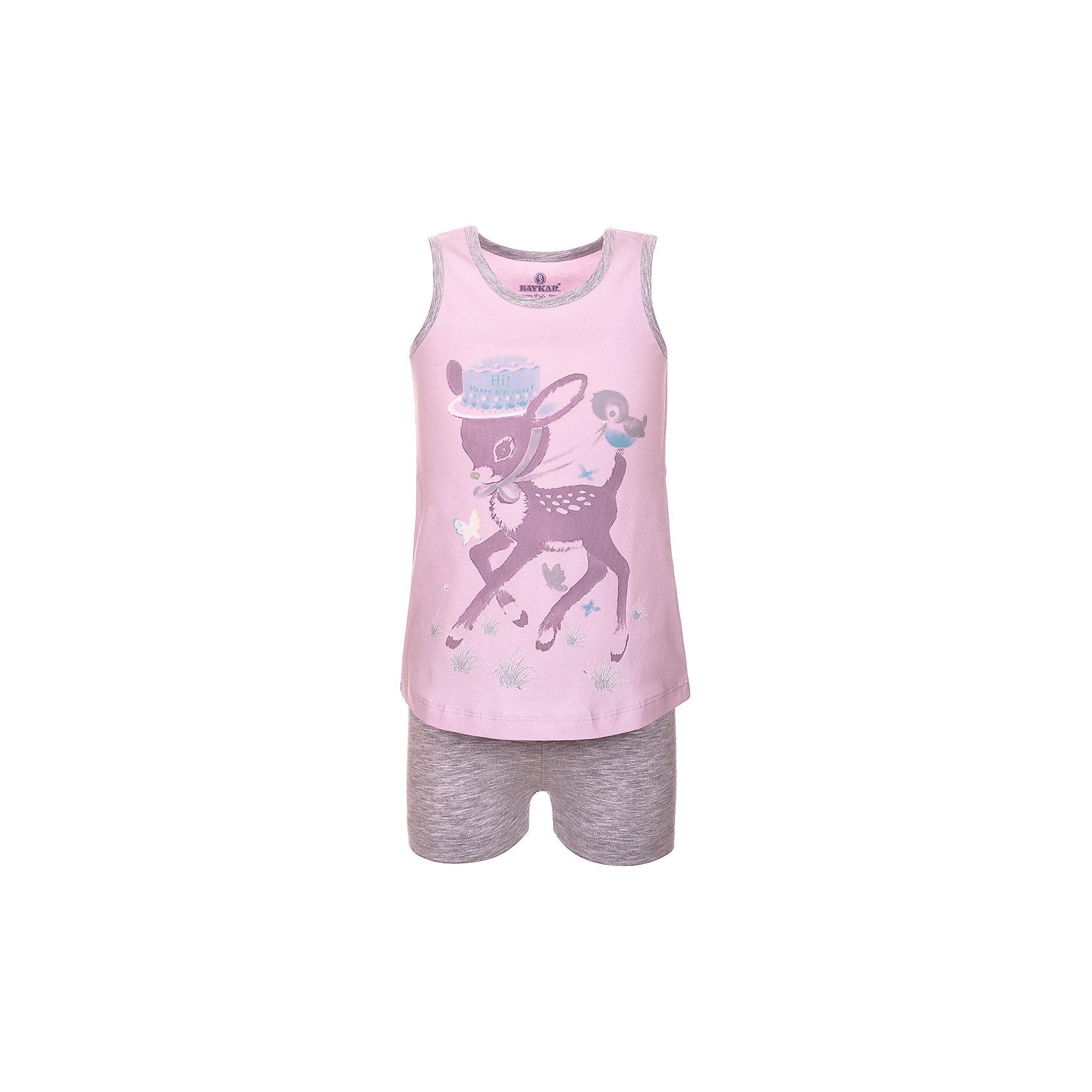 Пижама для девочки BaykarПижамы и сорочки<br>Характеристики товара:<br><br>• цвет: розовый<br>• состав ткани: 95% хлопок; 5% эластан<br>• комплектация: майка, шорты<br>• пояс шорт: резинка<br>• сезон: круглый год<br>• страна бренда: Турция<br>• страна изготовитель: Турция<br><br>Пижама для девочки Baykar украшена симпатичным принтом. Этот комплект для сна из майки и шорт сделан из мягкого дышащего материала. <br><br>Продуманный крой обеспечивает комфортную посадку. Розовая пижама для девочки позволяет обеспечить комфортный сон.<br><br>Пижаму для девочки Baykar (Байкар) можно купить в нашем интернет-магазине.<br><br>Ширина мм: 281<br>Глубина мм: 70<br>Высота мм: 188<br>Вес г: 295<br>Цвет: розовый<br>Возраст от месяцев: 72<br>Возраст до месяцев: 84<br>Пол: Женский<br>Возраст: Детский<br>Размер: 116/122,98/104,104/110,110/116<br>SKU: 6764827