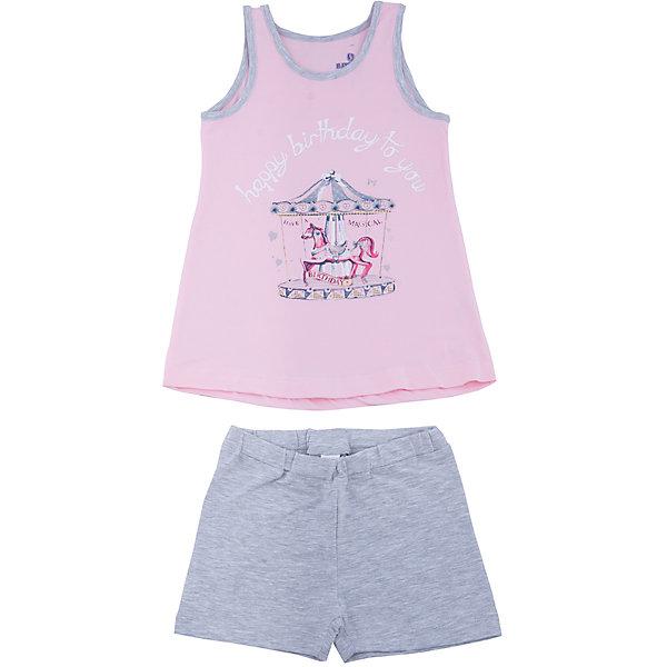 Пижама для девочки BaykarПижамы и сорочки<br>Характеристики товара:<br><br>• цвет: розовый<br>• состав ткани: 95% хлопок; 5% эластан<br>• комплектация: майка, шорты<br>• пояс шорт: резинка<br>• сезон: круглый год<br>• страна бренда: Турция<br>• страна изготовитель: Турция<br><br>Розовая пижама для девочки позволяет обеспечить комфортный сон. Этот комплект для сна из майки и шорт сделан из мягкого дышащего материала. <br><br>Продуманный крой обеспечивает комфортную посадку. Пижама для девочки Baykar украшена симпатичным принтом.<br><br>Пижаму для девочки Baykar (Байкар) можно купить в нашем интернет-магазине.<br>Ширина мм: 281; Глубина мм: 70; Высота мм: 188; Вес г: 295; Цвет: розовый; Возраст от месяцев: 72; Возраст до месяцев: 84; Пол: Женский; Возраст: Детский; Размер: 116/122,98/104,104/110,110/116; SKU: 6764832;
