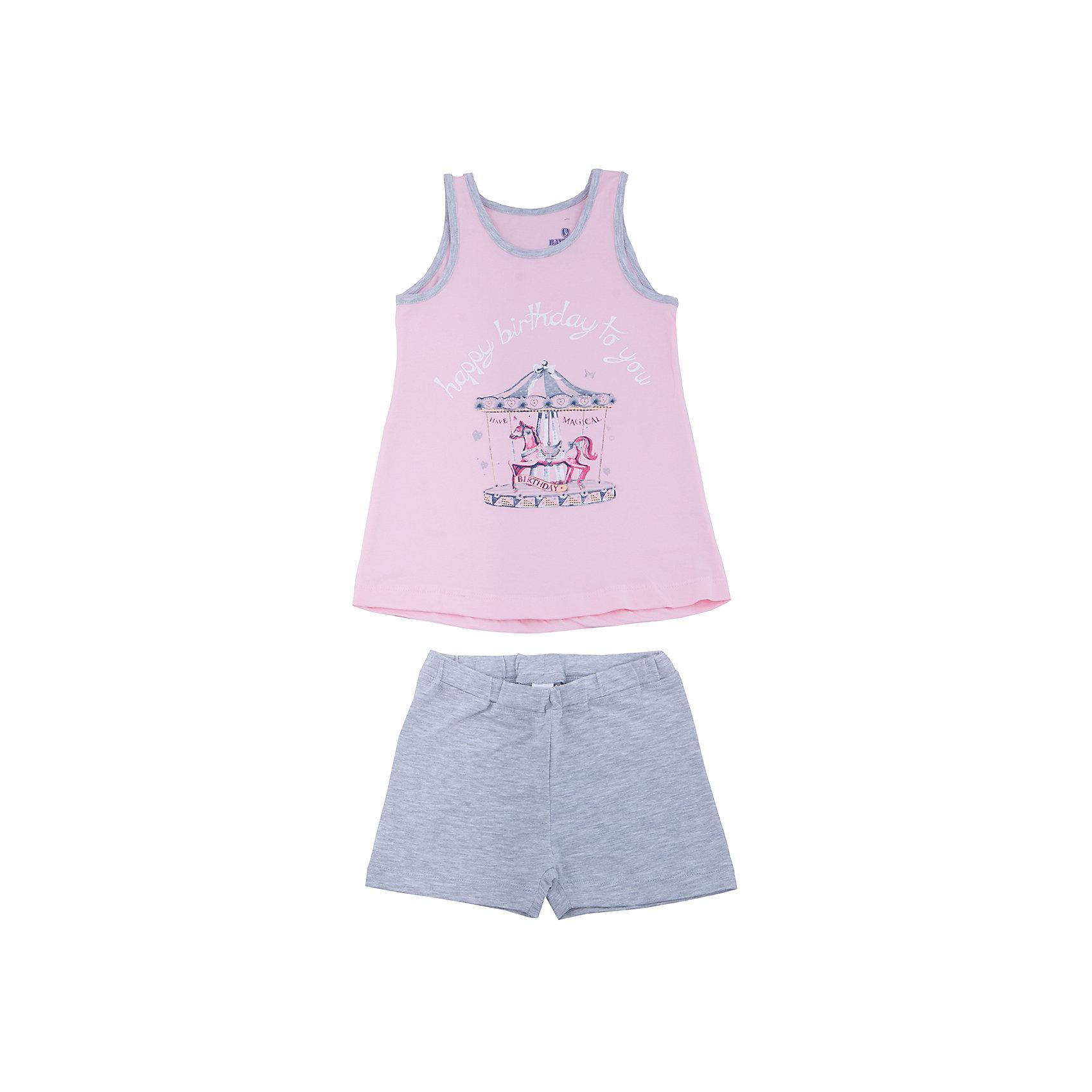 Пижама для девочки BaykarПижамы и сорочки<br>Характеристики товара:<br><br>• цвет: розовый<br>• состав ткани: 95% хлопок; 5% эластан<br>• комплектация: майка, шорты<br>• пояс шорт: резинка<br>• сезон: круглый год<br>• страна бренда: Турция<br>• страна изготовитель: Турция<br><br>Розовая пижама для девочки позволяет обеспечить комфортный сон. Этот комплект для сна из майки и шорт сделан из мягкого дышащего материала. <br><br>Продуманный крой обеспечивает комфортную посадку. Пижама для девочки Baykar украшена симпатичным принтом.<br><br>Пижаму для девочки Baykar (Байкар) можно купить в нашем интернет-магазине.<br><br>Ширина мм: 281<br>Глубина мм: 70<br>Высота мм: 188<br>Вес г: 295<br>Цвет: розовый<br>Возраст от месяцев: 72<br>Возраст до месяцев: 84<br>Пол: Женский<br>Возраст: Детский<br>Размер: 116/122,98/104,104/110,110/116<br>SKU: 6764832