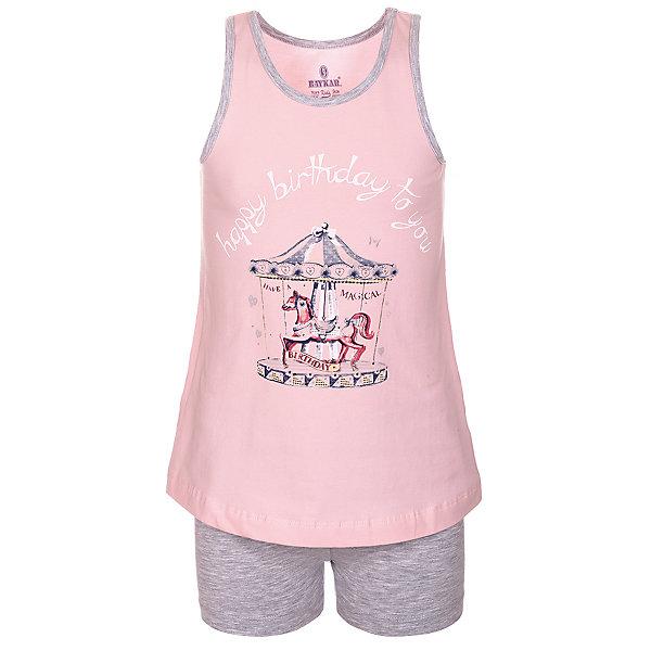 Пижама для девочки BaykarПижамы и сорочки<br>Характеристики товара:<br><br>• цвет: розовый<br>• состав ткани: 95% хлопок; 5% эластан<br>• комплектация: майка, шорты<br>• пояс шорт: резинка<br>• сезон: круглый год<br>• страна бренда: Турция<br>• страна изготовитель: Турция<br><br>Хлопковая пижама для девочки Baykar украшена симпатичным принтом. Этот комплект для сна из майки и шорт сделан из мягкого дышащего материала. <br><br>Мягкая отделка краев и продуманный крой обеспечивают комфортную посадку. Розовая пижама для девочки позволяет обеспечить комфортный сон.<br><br>Пижаму для девочки Baykar (Байкар) можно купить в нашем интернет-магазине.<br><br>Ширина мм: 281<br>Глубина мм: 70<br>Высота мм: 188<br>Вес г: 295<br>Цвет: розовый<br>Возраст от месяцев: 108<br>Возраст до месяцев: 120<br>Пол: Женский<br>Возраст: Детский<br>Размер: 134/140,140/146,128/134,122/128<br>SKU: 6764837