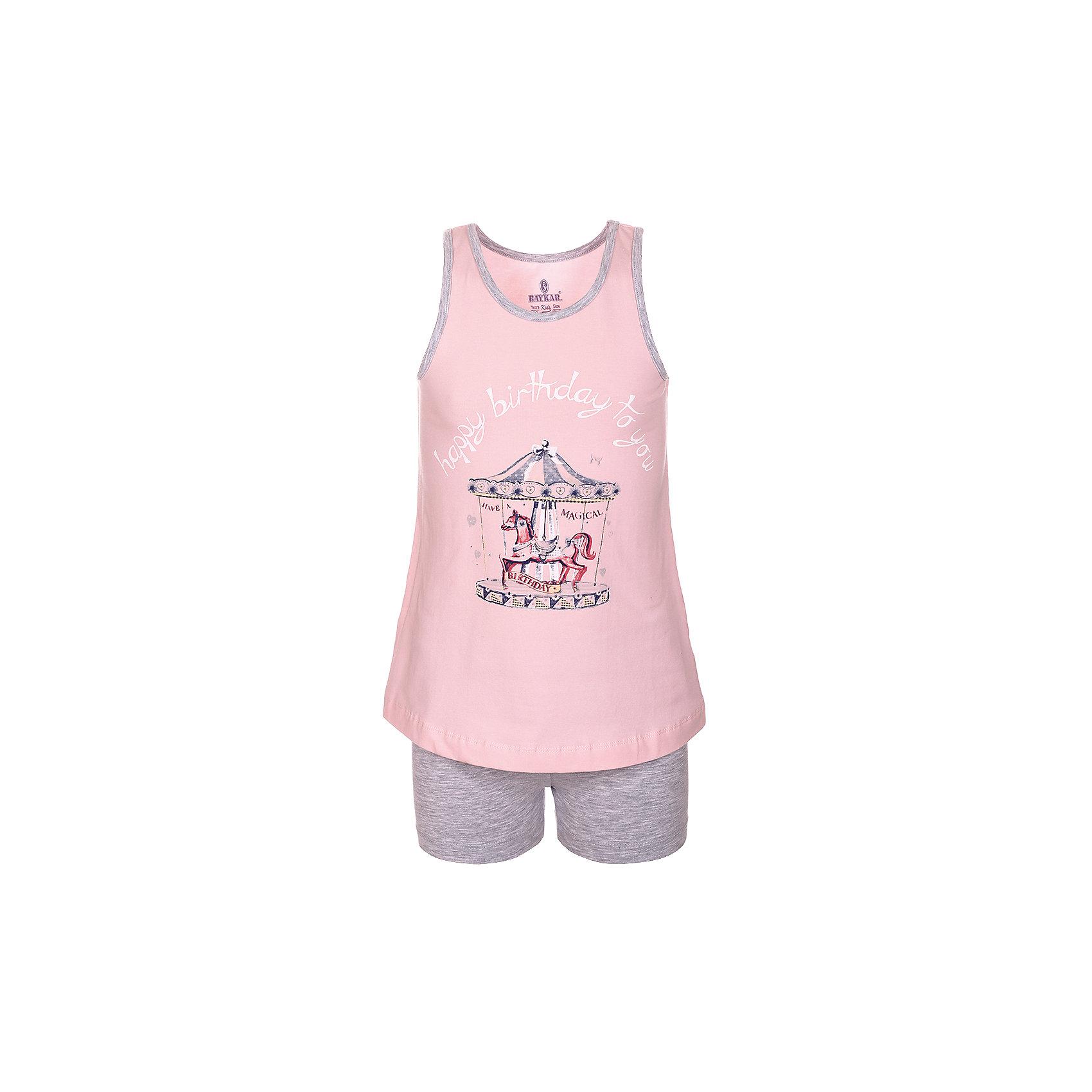 Пижама для девочки BaykarПижамы и сорочки<br>Характеристики товара:<br><br>• цвет: розовый<br>• состав ткани: 95% хлопок; 5% эластан<br>• комплектация: майка, шорты<br>• пояс шорт: резинка<br>• сезон: круглый год<br>• страна бренда: Турция<br>• страна изготовитель: Турция<br><br>Хлопковая пижама для девочки Baykar украшена симпатичным принтом. Этот комплект для сна из майки и шорт сделан из мягкого дышащего материала. <br><br>Мягкая отделка краев и продуманный крой обеспечивают комфортную посадку. Розовая пижама для девочки позволяет обеспечить комфортный сон.<br><br>Пижаму для девочки Baykar (Байкар) можно купить в нашем интернет-магазине.<br><br>Ширина мм: 281<br>Глубина мм: 70<br>Высота мм: 188<br>Вес г: 295<br>Цвет: розовый<br>Возраст от месяцев: 108<br>Возраст до месяцев: 120<br>Пол: Женский<br>Возраст: Детский<br>Размер: 134/140,140/146,122/128,128/134<br>SKU: 6764837