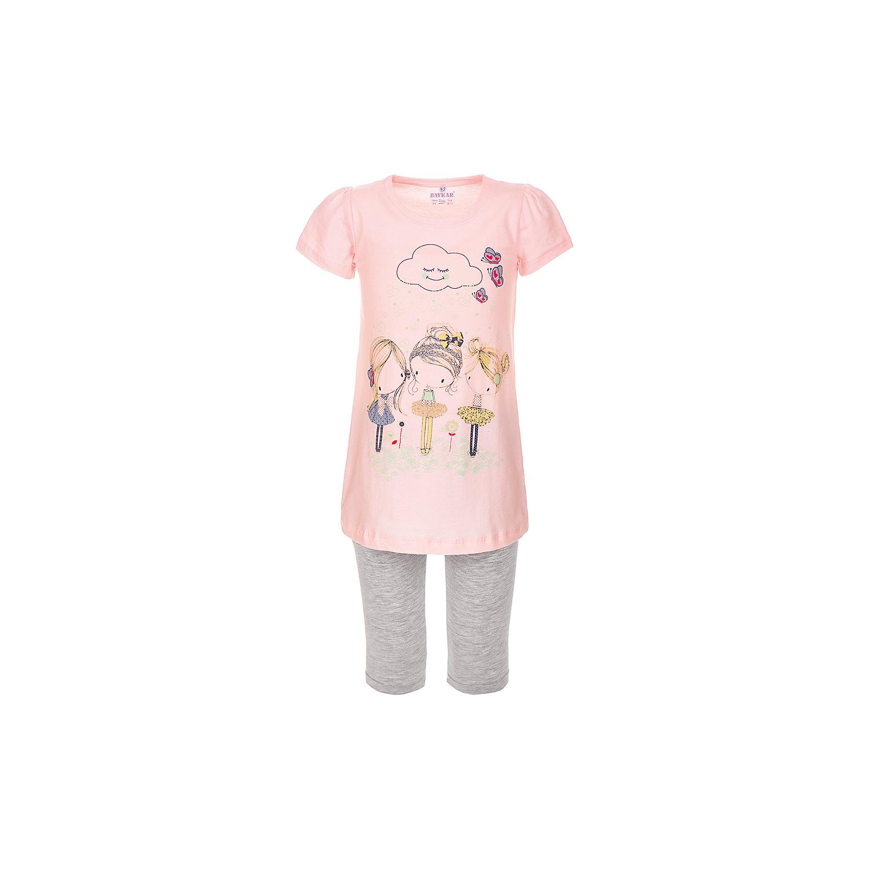 Пижама для девочки BaykarПижамы и сорочки<br>Характеристики товара:<br><br>• цвет: розовый<br>• состав ткани: 95% хлопок; 5% эластан<br>• комплектация: футболка, шорты<br>• пояс шорт: резинка<br>• сезон: круглый год<br>• страна бренда: Турция<br>• страна изготовитель: Турция<br><br>Пижама для девочки Baykar украшена симпатичным принтом. Этот комплект для сна из футболки и шорт сделан из мягкого дышащего материала. <br><br>Продуманный крой обеспечивает комфортную посадку. Розовая пижама для девочки позволяет обеспечить комфортный сон.<br><br>Пижаму для девочки Baykar (Байкар) можно купить в нашем интернет-магазине.<br><br>Ширина мм: 281<br>Глубина мм: 70<br>Высота мм: 188<br>Вес г: 295<br>Цвет: розовый<br>Возраст от месяцев: 72<br>Возраст до месяцев: 84<br>Пол: Женский<br>Возраст: Детский<br>Размер: 116/122,98/104,104/110,110/116<br>SKU: 6764842