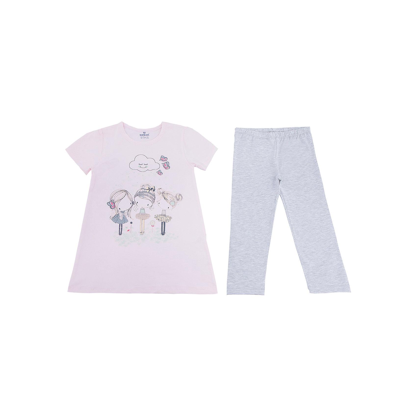 Пижама для девочки BaykarПижамы и сорочки<br>Характеристики товара:<br><br>• цвет: розовый<br>• состав ткани: 95% хлопок; 5% эластан<br>• комплектация: футболка, шорты<br>• пояс шорт: резинка<br>• сезон: круглый год<br>• страна бренда: Турция<br>• страна изготовитель: Турция<br><br>Розовая пижама для девочки позволяет обеспечить комфортный сон. Этот комплект для сна состоит из футболки и шорт, он сделан из мягкого дышащего материала. <br><br>Продуманный крой обеспечивает комфортную посадку. Пижама для девочки Baykar украшена симпатичным принтом.<br><br>Пижаму для девочки Baykar (Байкар) можно купить в нашем интернет-магазине.<br><br>Ширина мм: 281<br>Глубина мм: 70<br>Высота мм: 188<br>Вес г: 295<br>Цвет: розовый<br>Возраст от месяцев: 108<br>Возраст до месяцев: 120<br>Пол: Женский<br>Возраст: Детский<br>Размер: 134/140,140/146,122/128,128/134<br>SKU: 6764847