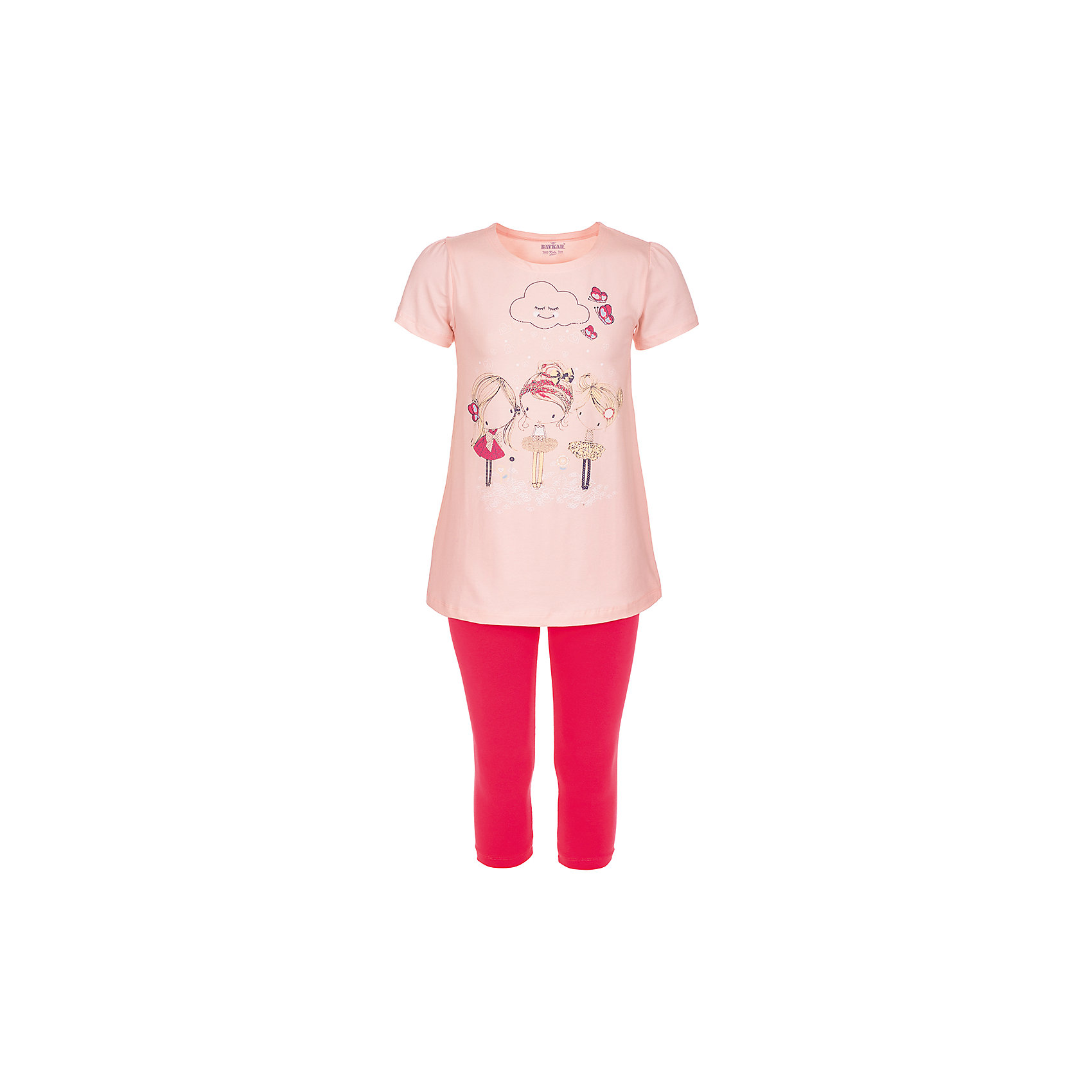 Пижама для девочки BaykarПижамы и сорочки<br>Характеристики товара:<br><br>• цвет: розовый<br>• состав ткани: 95% хлопок; 5% эластан<br>• комплектация: футболка, шорты<br>• пояс шорт: резинка<br>• сезон: круглый год<br>• страна бренда: Турция<br>• страна изготовитель: Турция<br><br>Удобная пижама для девочки Baykar украшена симпатичным принтом. Этот комплект для сна из футболки и шорт сделан из мягкого дышащего материала. <br><br>Продуманный крой обеспечивает комфортную посадку. Розовая пижама для девочки позволяет обеспечить комфортный сон.<br><br>Пижаму для девочки Baykar (Байкар) можно купить в нашем интернет-магазине.<br><br>Ширина мм: 281<br>Глубина мм: 70<br>Высота мм: 188<br>Вес г: 295<br>Цвет: розовый<br>Возраст от месяцев: 120<br>Возраст до месяцев: 132<br>Пол: Женский<br>Возраст: Детский<br>Размер: 140/146,122/128,128/134,134/140<br>SKU: 6764857