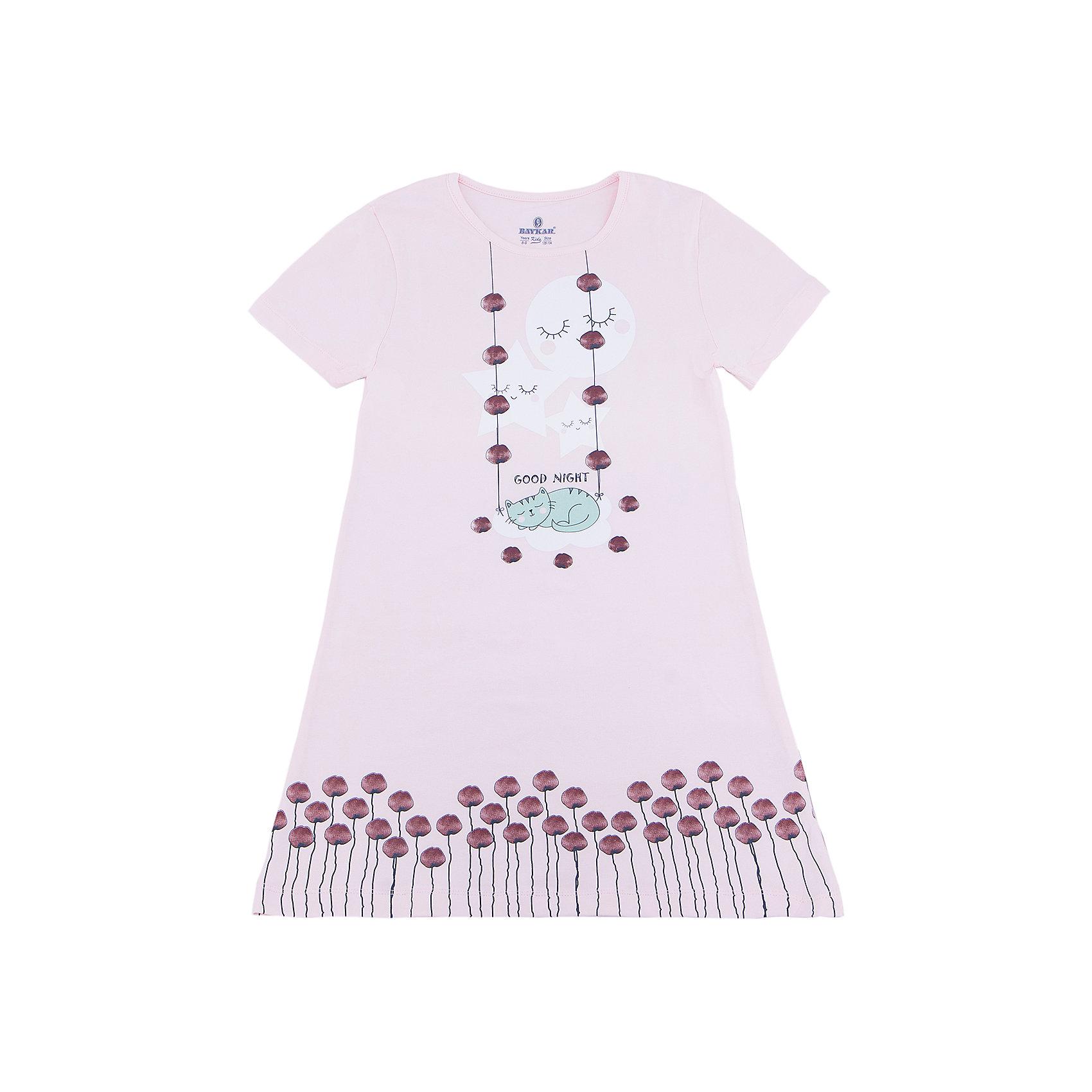 Сорочка для девочки BaykarПижамы и сорочки<br>Характеристики товара:<br><br>• цвет: розовый<br>• состав ткани: 95% хлопок; 5% эластан<br>• короткие рукава<br>• сезон: круглый год<br>• страна бренда: Турция<br>• страна изготовитель: Турция<br><br>Хлопковая сорочка для девочки Baykar украшена симпатичным принтом. Она сделана из мягкого дышащего материала. <br><br>Мягкая отделка краев и продуманный крой обеспечивают комфортную посадку. Розовая сорочка для девочки позволяет обеспечить комфортный сон.<br><br>Сорочку для девочки Baykar (Байкар) можно купить в нашем интернет-магазине.<br><br>Ширина мм: 281<br>Глубина мм: 70<br>Высота мм: 188<br>Вес г: 295<br>Цвет: розовый<br>Возраст от месяцев: 108<br>Возраст до месяцев: 120<br>Пол: Женский<br>Возраст: Детский<br>Размер: 134/140,140/146,122/128,128/134<br>SKU: 6764886