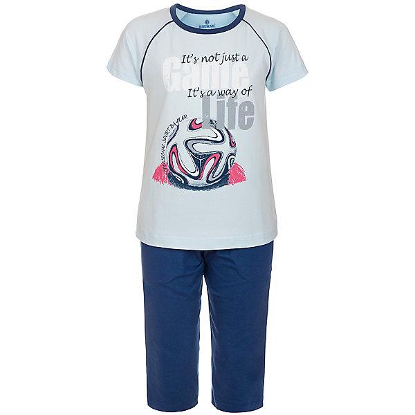 Пижама для мальчика BaykarПижамы и сорочки<br>Характеристики товара:<br><br>• цвет: синий<br>• состав ткани: 95% хлопок; 5% эластан<br>• комплектация: футболка, шорты<br>• пояс шорт: резинка<br>• сезон: круглый год<br>• страна бренда: Турция<br>• страна изготовитель: Турция<br><br>Пижама для мальчика Baykar украшена симпатичным принтом. Этот комплект для сна из футболки и шорт сделан из мягкого дышащего материала. <br><br>Продуманный крой обеспечивает комфортную посадку. Качественная пижама для мальчика позволяет обеспечить комфортный сон.<br><br>Пижаму для мальчика Baykar (Байкар) можно купить в нашем интернет-магазине.<br><br>Ширина мм: 281<br>Глубина мм: 70<br>Высота мм: 188<br>Вес г: 295<br>Цвет: синий<br>Возраст от месяцев: 120<br>Возраст до месяцев: 132<br>Пол: Мужской<br>Возраст: Детский<br>Размер: 140/146,134/140,128/134,122/128<br>SKU: 6764896