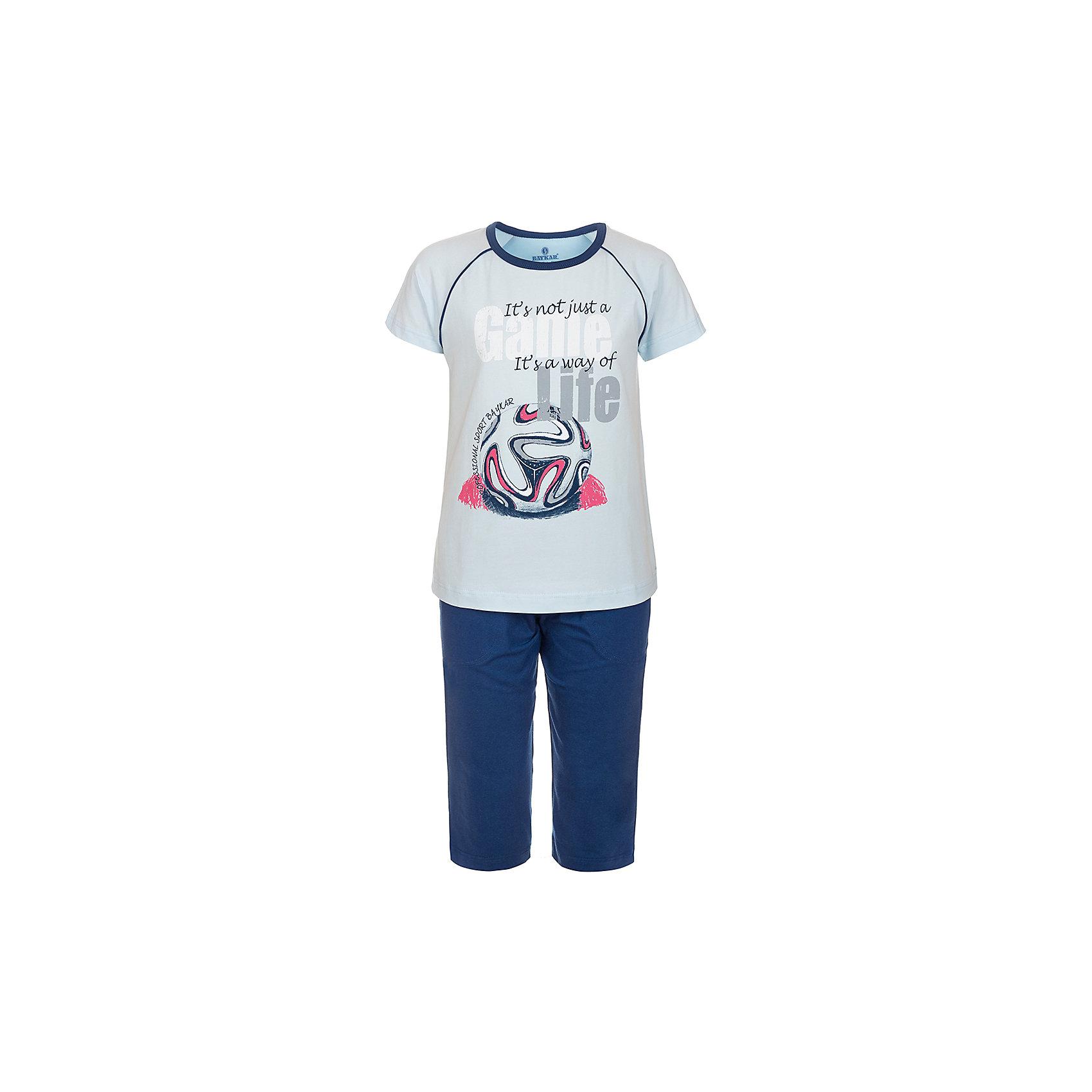 Пижама для мальчика BaykarПижамы и сорочки<br>Характеристики товара:<br><br>• цвет: синий<br>• состав ткани: 95% хлопок; 5% эластан<br>• комплектация: футболка, шорты<br>• пояс шорт: резинка<br>• сезон: круглый год<br>• страна бренда: Турция<br>• страна изготовитель: Турция<br><br>Пижама для мальчика Baykar украшена симпатичным принтом. Этот комплект для сна из футболки и шорт сделан из мягкого дышащего материала. <br><br>Продуманный крой обеспечивает комфортную посадку. Качественная пижама для мальчика позволяет обеспечить комфортный сон.<br><br>Пижаму для мальчика Baykar (Байкар) можно купить в нашем интернет-магазине.<br><br>Ширина мм: 281<br>Глубина мм: 70<br>Высота мм: 188<br>Вес г: 295<br>Цвет: синий<br>Возраст от месяцев: 108<br>Возраст до месяцев: 120<br>Пол: Мужской<br>Возраст: Детский<br>Размер: 134/140,140/146,122/128,128/134<br>SKU: 6764896