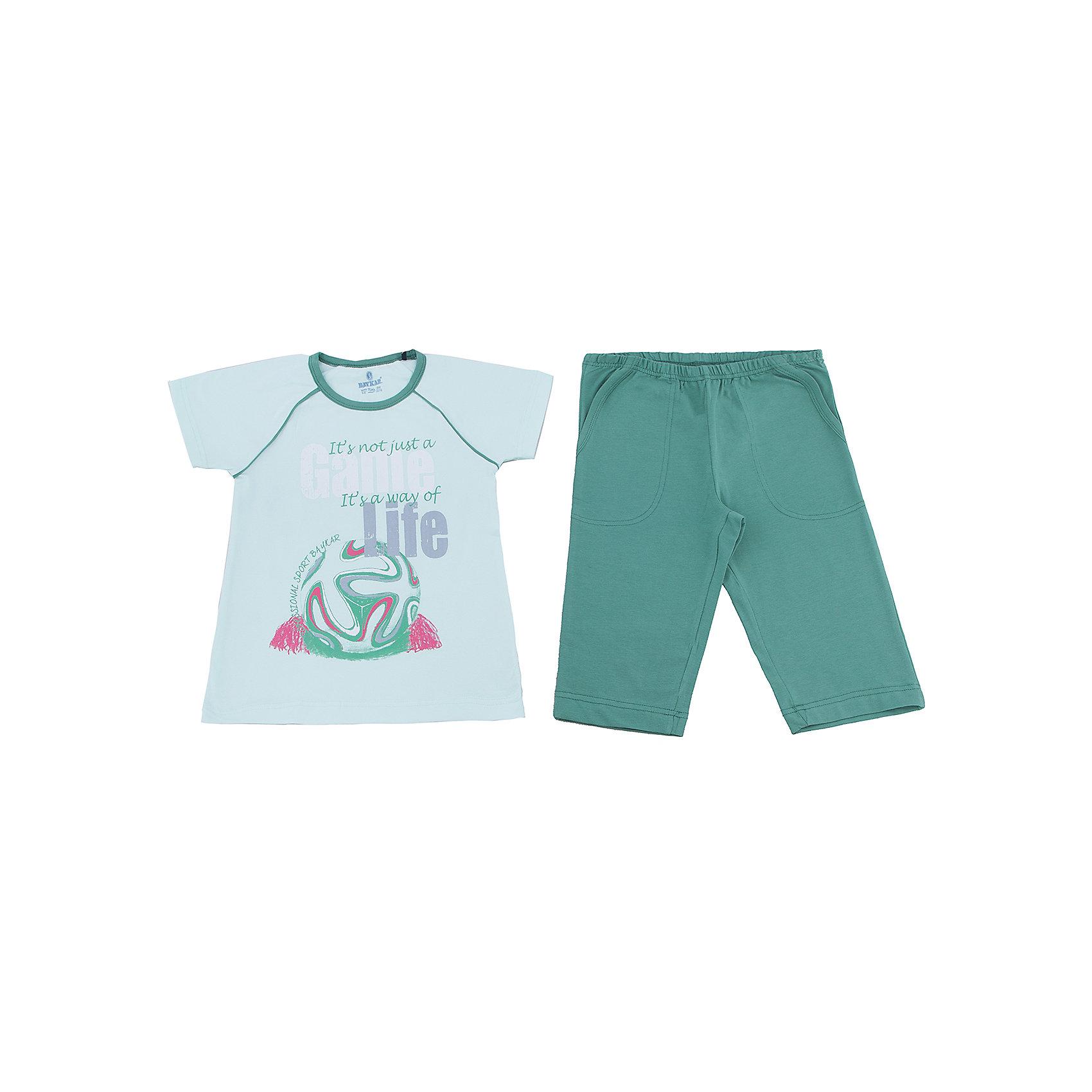 Пижама для мальчика BaykarПижамы и сорочки<br>Характеристики товара:<br><br>• цвет: зеленый<br>• состав ткани: хлопок, эластан<br>• комплектация: футболка, шорты<br>• пояс шорт: резинка<br>• сезон: круглый год<br>• страна бренда: Турция<br>• страна изготовитель: Турция<br><br>Эта зеленая пижама для мальчика позволяет обеспечить комфортный сон. Такой комплект для сна состоит из футболки и шорт, он сделан из мягкого дышащего материала. <br><br>Продуманный крой обеспечивает комфортную посадку. Пижама для мальчика Baykar украшена симпатичным принтом.<br><br>Пижаму для мальчикаBaykar (Байкар) можно купить в нашем интернет-магазине.<br><br>Ширина мм: 281<br>Глубина мм: 70<br>Высота мм: 188<br>Вес г: 295<br>Цвет: зеленый<br>Возраст от месяцев: 72<br>Возраст до месяцев: 84<br>Пол: Мужской<br>Возраст: Детский<br>Размер: 116/122,98/104,104/110,110/116<br>SKU: 6764901