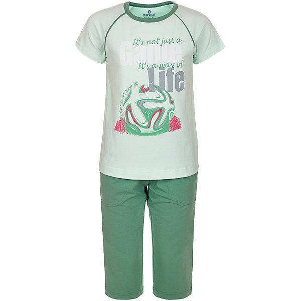 Пижама для мальчика BaykarПижамы и сорочки<br>Характеристики товара:<br><br>• цвет: зеленый<br>• состав ткани: 95% хлопок; 5% эластан<br>• комплектация: футболка, шорты<br>• пояс шорт: резинка<br>• сезон: круглый год<br>• страна бренда: Турция<br>• страна изготовитель: Турция<br><br>Качественная пижама для мальчика позволяет обеспечить комфортный сон. Пижама для мальчика Baykar украшена симпатичным принтом.<br><br>Этот комплект для сна из футболки и шорт сделан из мягкого дышащего материала с преобладанием хлопка в составе. Продуманный крой обеспечивает комфортную посадку. <br><br>Пижаму для мальчика Baykar (Байкар) можно купить в нашем интернет-магазине.<br>Ширина мм: 281; Глубина мм: 70; Высота мм: 188; Вес г: 295; Цвет: зеленый; Возраст от месяцев: 108; Возраст до месяцев: 120; Пол: Мужской; Возраст: Детский; Размер: 134/140,140/146,128/134,122/128; SKU: 6764906;