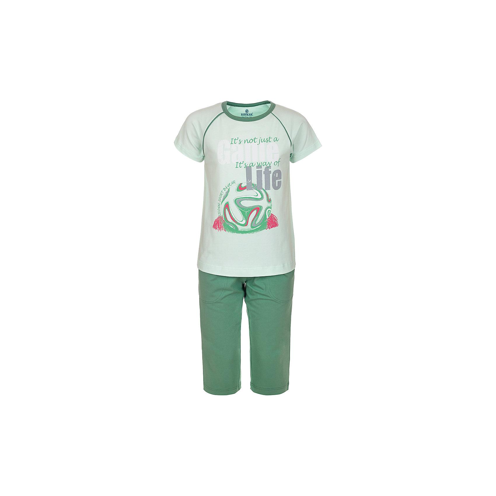 Пижама для мальчика BaykarПижамы и сорочки<br>Характеристики товара:<br><br>• цвет: зеленый<br>• состав ткани: 95% хлопок; 5% эластан<br>• комплектация: футболка, шорты<br>• пояс шорт: резинка<br>• сезон: круглый год<br>• страна бренда: Турция<br>• страна изготовитель: Турция<br><br>Качественная пижама для мальчика позволяет обеспечить комфортный сон. Пижама для мальчика Baykar украшена симпатичным принтом.<br><br>Этот комплект для сна из футболки и шорт сделан из мягкого дышащего материала с преобладанием хлопка в составе. Продуманный крой обеспечивает комфортную посадку. <br><br>Пижаму для мальчика Baykar (Байкар) можно купить в нашем интернет-магазине.<br><br>Ширина мм: 281<br>Глубина мм: 70<br>Высота мм: 188<br>Вес г: 295<br>Цвет: зеленый<br>Возраст от месяцев: 108<br>Возраст до месяцев: 120<br>Пол: Мужской<br>Возраст: Детский<br>Размер: 134/140,140/146,122/128,128/134<br>SKU: 6764906