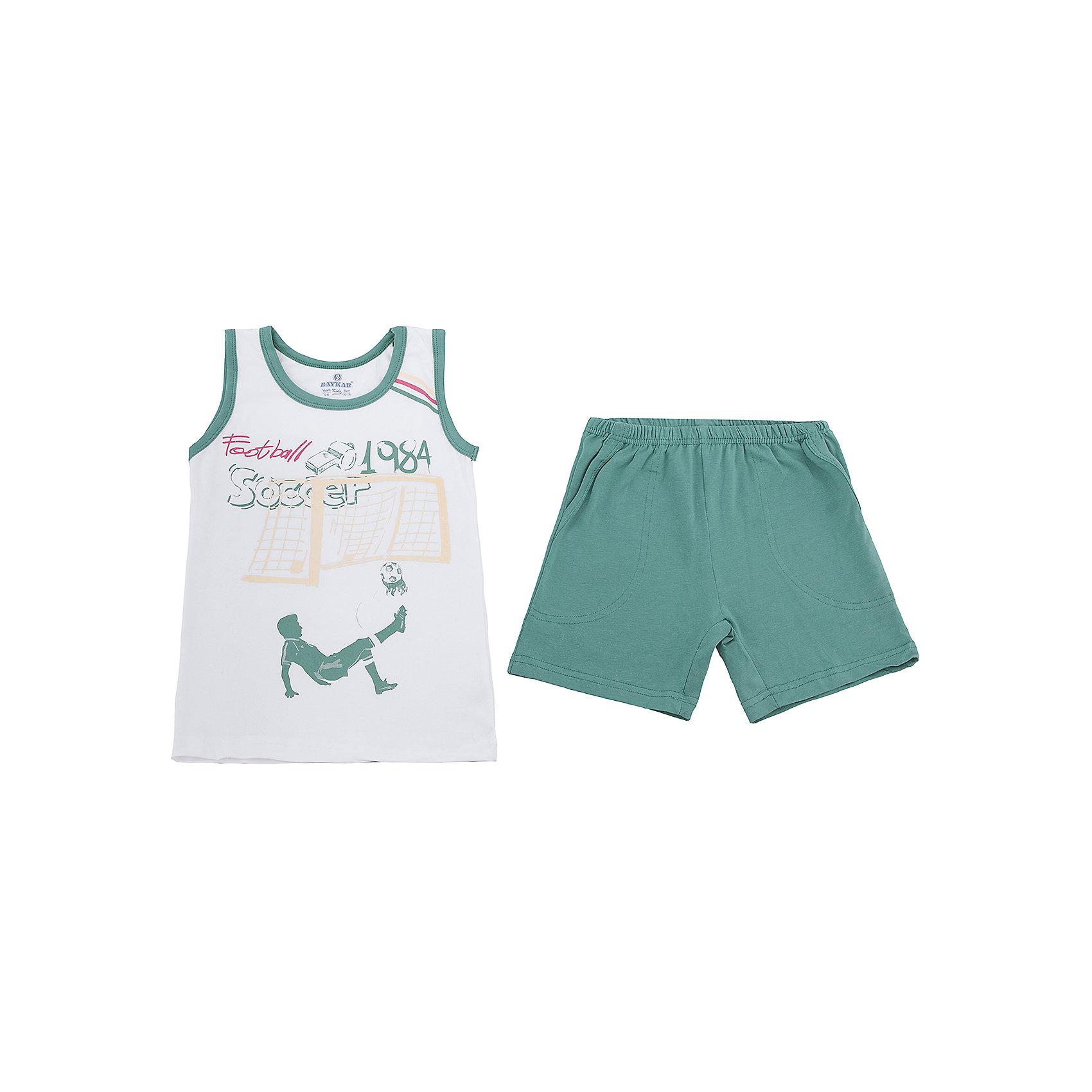 Пижама для мальчика BaykarПижамы и сорочки<br>Характеристики товара:<br><br>• цвет: белый<br>• состав ткани: 95% хлопок; 5% эластан<br>• комплектация: майка, шорты<br>• пояс шорт: резинка<br>• сезон: круглый год<br>• страна бренда: Турция<br>• страна изготовитель: Турция<br><br>Удобная пижама для мальчика Baykar украшена симпатичным принтом. Этот комплект для сна из майки и шорт сделан из мягкого дышащего материала. <br><br>Продуманный крой обеспечивает комфортную посадку. Качественная пижама для мальчика позволяет обеспечить комфортный сон.<br><br>Пижаму для мальчика Baykar (Байкар) можно купить в нашем интернет-магазине.<br><br>Ширина мм: 281<br>Глубина мм: 70<br>Высота мм: 188<br>Вес г: 295<br>Цвет: белый<br>Возраст от месяцев: 72<br>Возраст до месяцев: 84<br>Пол: Мужской<br>Возраст: Детский<br>Размер: 116/122,98/104,104/110,110/116<br>SKU: 6764911