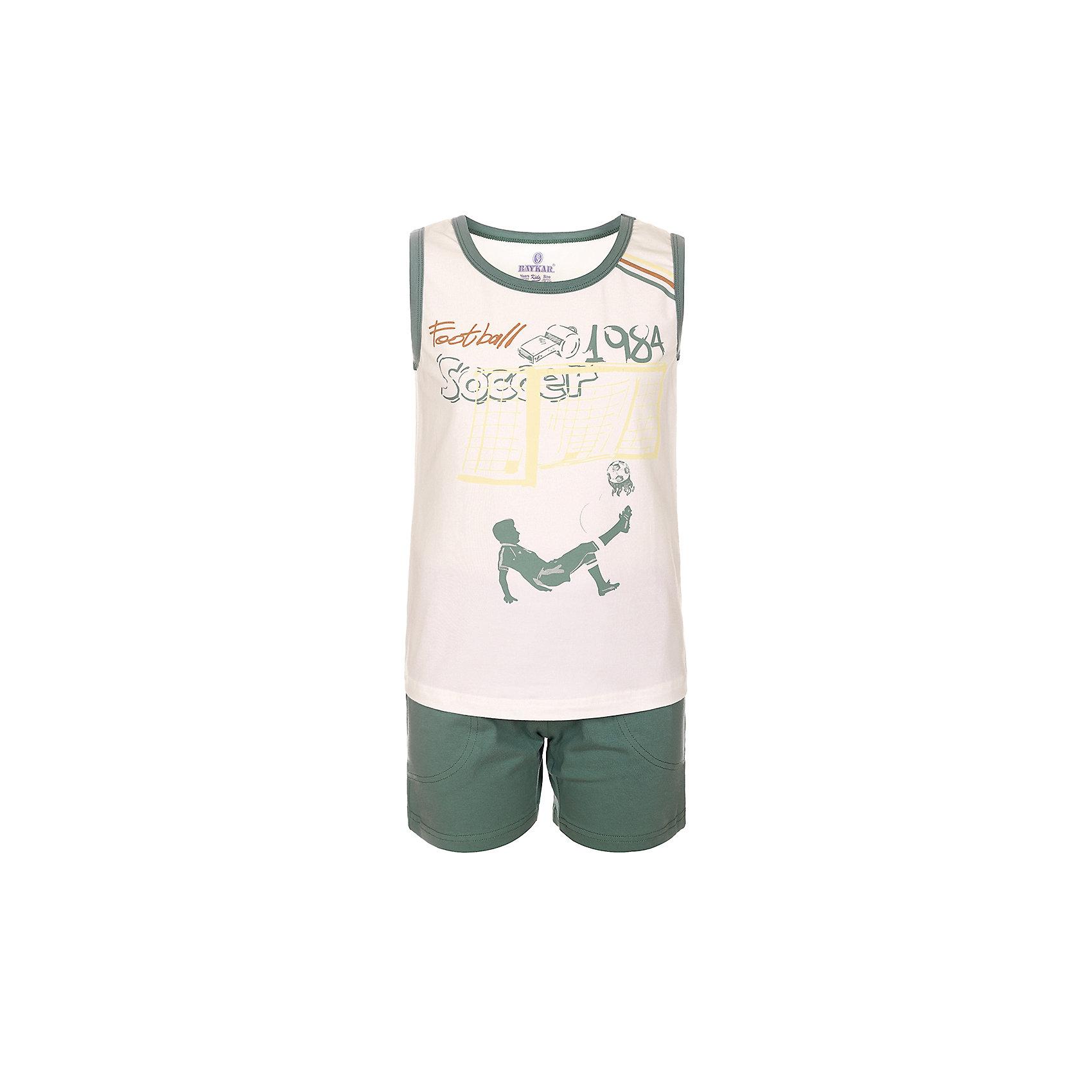 Пижама для мальчика BaykarПижамы и сорочки<br>Характеристики товара:<br><br>• цвет: белый<br>• состав ткани: 95% хлопок; 5% эластан<br>• комплектация: майка, шорты<br>• пояс шорт: резинка<br>• сезон: круглый год<br>• страна бренда: Турция<br>• страна изготовитель: Турция<br><br>Эта пижама для мальчика позволяет обеспечить комфортный сон. Такой комплект для сна состоит из майки и шорт, он сделан из мягкого дышащего материала. <br><br>Продуманный крой обеспечивает комфортную посадку. Пижама для мальчика Baykar украшена симпатичным принтом.<br><br>Пижаму для мальчикаBaykar (Байкар) можно купить в нашем интернет-магазине.<br><br>Ширина мм: 281<br>Глубина мм: 70<br>Высота мм: 188<br>Вес г: 295<br>Цвет: белый<br>Возраст от месяцев: 108<br>Возраст до месяцев: 120<br>Пол: Мужской<br>Возраст: Детский<br>Размер: 134/140,140/146,122/128,128/134<br>SKU: 6764916