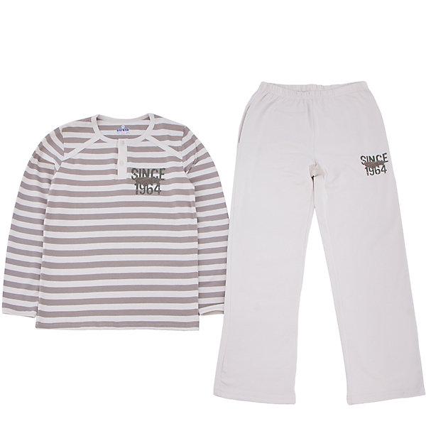 Пижама для мальчика BaykarПижамы и сорочки<br>Характеристики товара:<br><br>• цвет: бежевый<br>• состав ткани: 95% хлопок; 5% эластан<br>• комплектация: кофта, брюки<br>• пояс брюк: резинка<br>• сезон: круглый год<br>• страна бренда: Турция<br>• страна изготовитель: Турция<br><br>Комфортная пижама для мальчика Baykar украшена симпатичным принтом. Этот комплект для сна из кофты и брюк сделан из мягкого дышащего материала. <br><br>Продуманный крой обеспечивает комфортную посадку. Качественная пижама для мальчика позволяет обеспечить комфортный сон.<br><br>Пижаму для мальчика Baykar (Байкар) можно купить в нашем интернет-магазине.<br>Ширина мм: 281; Глубина мм: 70; Высота мм: 188; Вес г: 295; Цвет: бежевый; Возраст от месяцев: 120; Возраст до месяцев: 132; Пол: Мужской; Возраст: Детский; Размер: 140/146,134/140,122/128,128/134; SKU: 6764926;