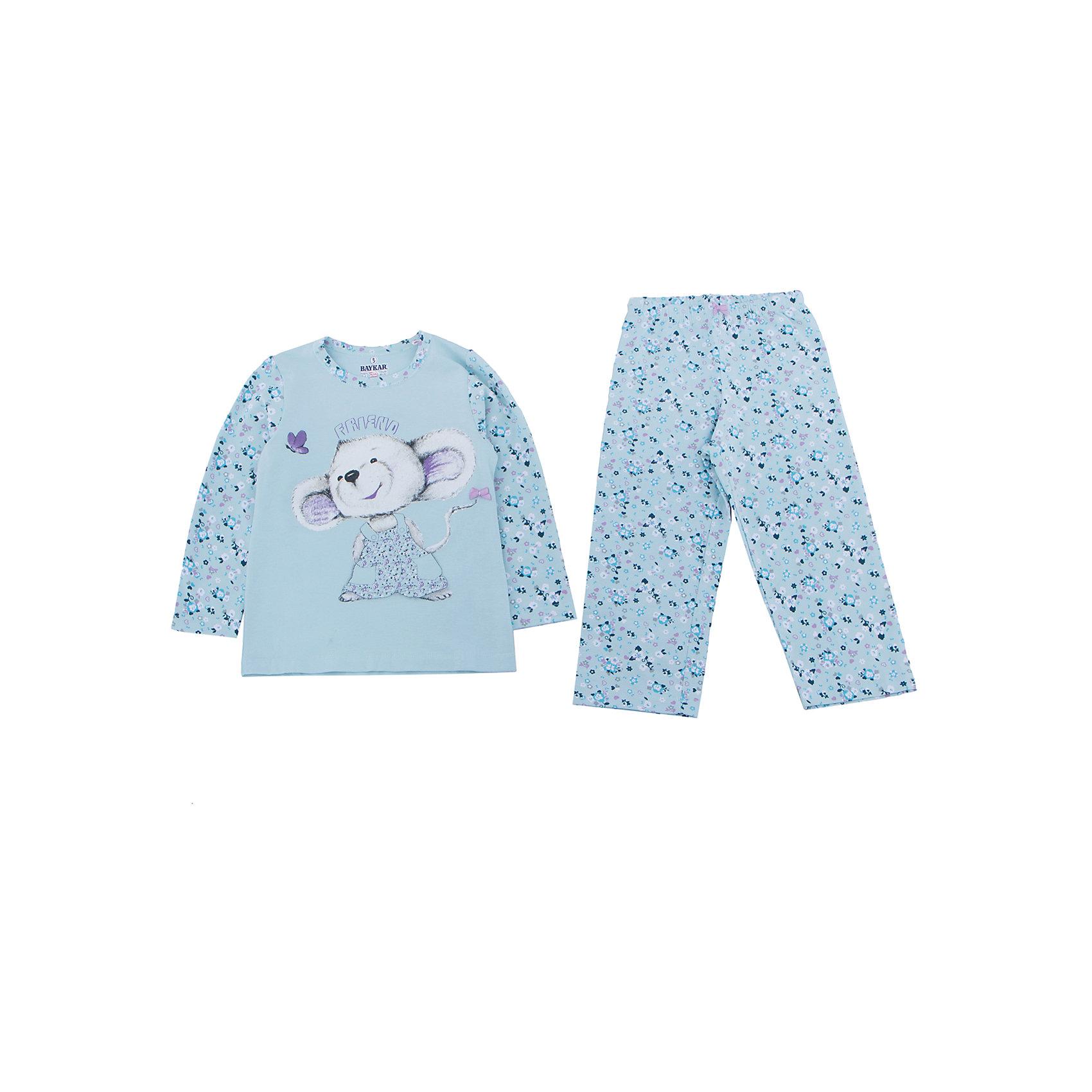 Пижама для девочки BaykarПижамы и сорочки<br>Характеристики товара:<br><br>• цвет: голубой<br>• состав ткани: 95% хлопок; 5% эластан<br>• комплектация: кофта, брюки<br>• пояс брюк: резинка<br>• сезон: круглый год<br>• страна бренда: Турция<br>• страна изготовитель: Турция<br><br>Пижама для девочки Baykar украшена симпатичным принтом. Этот комплект для сна из кофты и брюк сделан из мягкого дышащего материала. <br><br>Продуманный крой обеспечивает комфортную посадку. Голубая пижама для девочки позволяет обеспечить комфортный сон.<br><br>Пижаму для девочки Baykar (Байкар) можно купить в нашем интернет-магазине.<br><br>Ширина мм: 281<br>Глубина мм: 70<br>Высота мм: 188<br>Вес г: 295<br>Цвет: голубой<br>Возраст от месяцев: 24<br>Возраст до месяцев: 36<br>Пол: Женский<br>Возраст: Детский<br>Размер: 92/98,80/92<br>SKU: 6764931