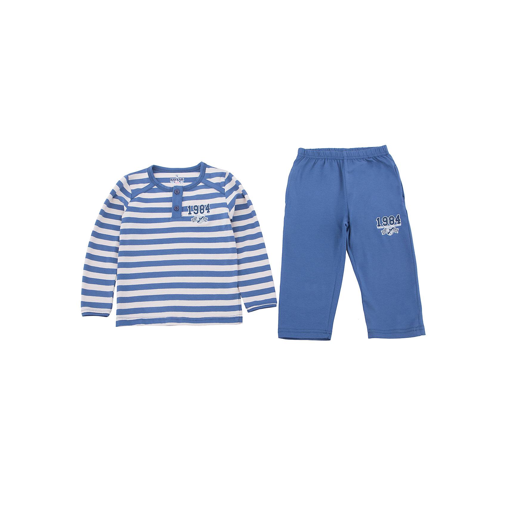 Пижама для мальчика BaykarПижамы и сорочки<br>Характеристики товара:<br><br>• цвет: синий<br>• состав ткани: 95% хлопок; 5% эластан<br>• комплектация: кофта, брюки<br>• пояс брюк: резинка<br>• сезон: круглый год<br>• страна бренда: Турция<br>• страна изготовитель: Турция<br><br>Хорошо подобранная пижама для мальчика позволяет обеспечить комфортный сон. Пижама для мальчика Baykar украшена симпатичным принтом. <br><br>Этот комплект для сна из кофты и брюк сделан из мягкого дышащего материала. Продуманный крой обеспечивает комфортную посадку. <br><br>Пижаму для мальчика Baykar (Байкар) можно купить в нашем интернет-магазине.<br><br>Ширина мм: 281<br>Глубина мм: 70<br>Высота мм: 188<br>Вес г: 295<br>Цвет: синий<br>Возраст от месяцев: 24<br>Возраст до месяцев: 36<br>Пол: Мужской<br>Возраст: Детский<br>Размер: 92/98,80/92<br>SKU: 6764937