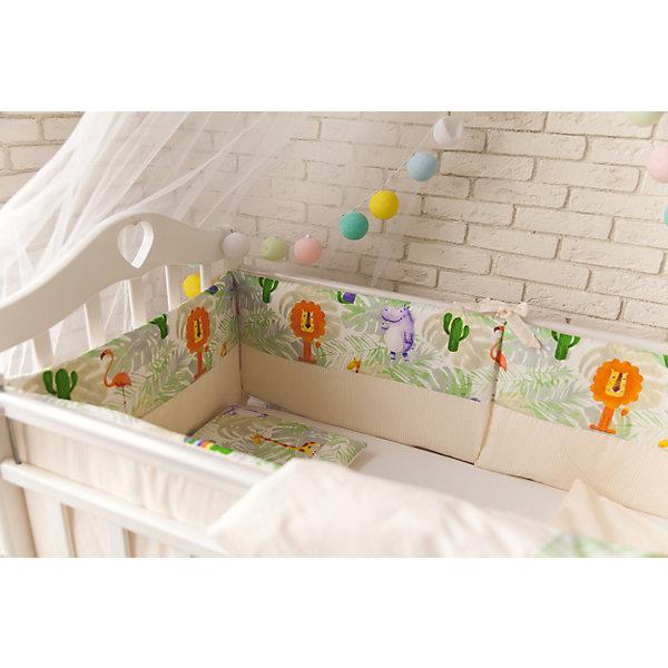 Комплект в кроватку 6 предметов By Twinz, ДжунглиПостельное белье в кроватку новорождённого<br>Характеристики:<br><br>• Материал: хлопок, 100% <br>• Тематика рисунка: животные<br>• Комплектация: <br> пододеяльник 105*145 см – 1 шт. <br> одеяло на холлофайбере 100*140 см – 1 шт. <br> простынь на резинке 125*65 см – 1 шт. <br> наволочка 36*46 см – 1 шт. <br> подушка на холлофайбере 35*45 см – 1 шт. <br> бортики – 4 шт. <br>• Вес комплекта: 3 кг<br>• Размеры упаковки (Д*В*Ш): 58*58*18 см<br>• Особенности ухода: машинная стирка на щадящем режиме <br><br>Постельное белье представляет собой расширенную комплектацию – пододеяльник, простынь, наволочка, одеяло, подушка и бортики. Размеры изделий предназначены для детских кроваток прямоугольной формы с размерами спального места 100*60 см или 125*65 см. <br><br>Постельное белье изготовлено из натурального хлопка, который обеспечивает комфорт и удобство для сна. Натуральная ткань обладает высокими гигиеническими свойствами и повышенной износоустойчивостью. <br><br>Предусмотренные на простыни резинка и застежка на пододеяльнике позволяют изделиям надежно фиксироваться. Бортики выполнены для защиты по всему периметру кроватки. Постельное белье Джунгли, 6 предм., by Twinz выполнено в брендовом дизайне с принтом из животный, обитающих в джунглях. <br><br>Постельное белье Джунгли, 6 предм., by Twinz можно купить в нашем интернет-магазине.<br>Ширина мм: 580; Глубина мм: 580; Высота мм: 180; Вес г: 3000; Возраст от месяцев: 0; Возраст до месяцев: 36; Пол: Унисекс; Возраст: Детский; SKU: 6765391;
