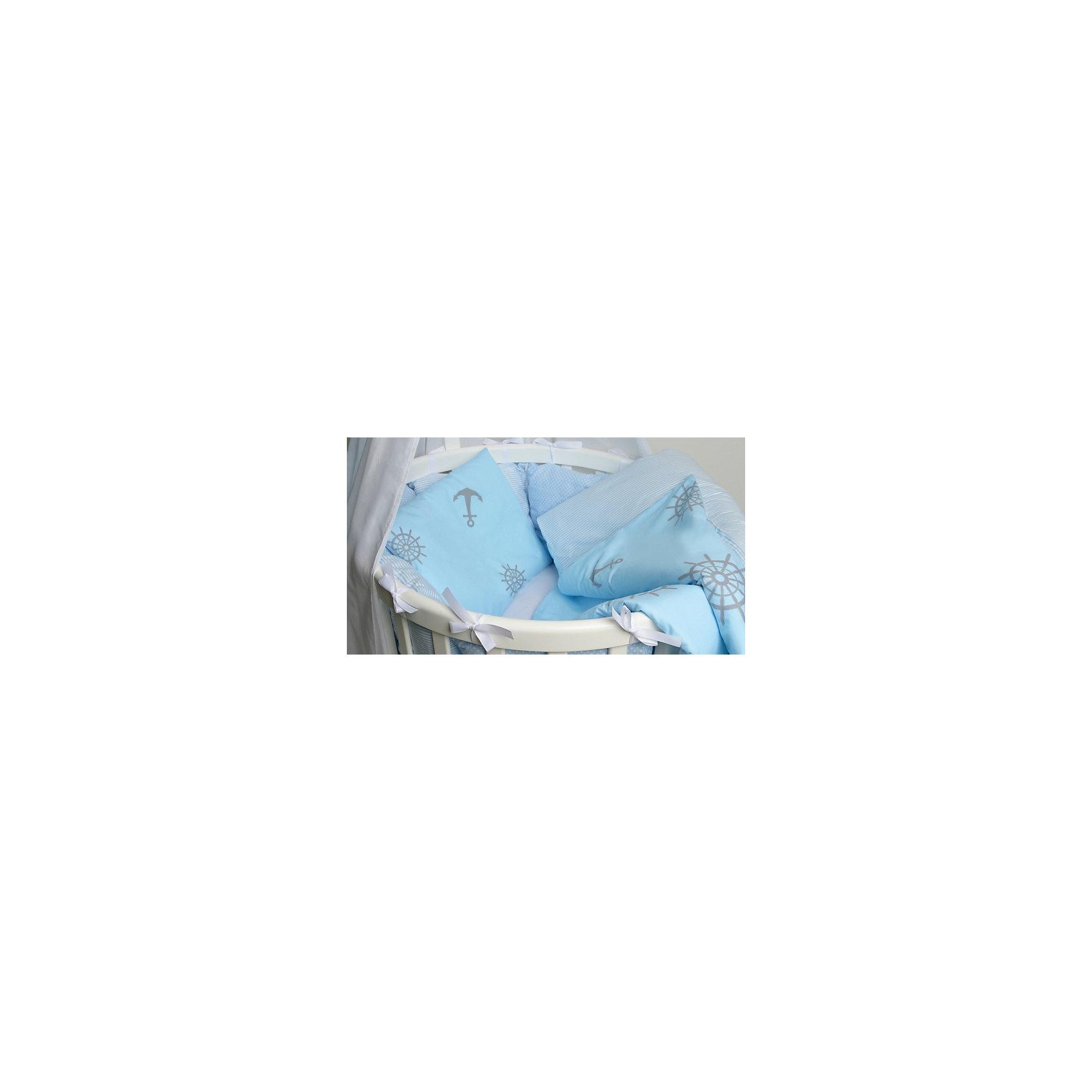 Постельное белье для круглых кроваток Бриз, 7 предм., by TwinzПостельное бельё<br>Характеристики:<br><br>• Материал: хлопок, 100% <br>• Тематика рисунка: якоря<br>• Комплектация: <br> пододеяльник 105*145 см – 1 шт. <br> одеяло на холлофайбере 100*140 см – 1 шт. <br> простынь на резинке 70*80 см – 1 шт. <br> простынь на резинке 70*120 см – 1 шт. <br> наволочка 36*46 см – 1 шт. <br> подушка на холлофайбере 35*45 см – 1 шт. <br> бортики в виде подушек с завязками – 10 шт.<br>• Вес комплекта: 3 кг<br>• Размеры упаковки (Д*В*Ш): 58*58*18 см<br>• Особенности ухода: машинная стирка на щадящем режиме <br><br>Постельное белье представляет собой расширенную комплектацию – одеяло и подушка, пододеяльник, простыни и наволочка, бортики. Размеры изделий предназначены для детской кроватки круглой или овальной формы. <br><br>Постельное белье изготовлено из натурального хлопка, который обеспечивает комфорт и удобство для сна. Натуральная ткань обладает высокими гигиеническими свойствами и повышенной износоустойчивостью. <br><br>Предусмотренные на простыни резинка и застежка на пододеяльнике позволяют изделиям надежно фиксироваться. В комплекте предусмотрены бортики в виде подушек, которые оснащены съемными наволочками с завязками. Постельное белье для круглых кроваток Бриз, 7 предм., by Twinz выполнено в брендовом дизайне с принтом морской тематики. <br><br>Постельное белье Бриз, 3 предм., by Twinz можно купить в нашем интернет-магазине.<br><br>Ширина мм: 580<br>Глубина мм: 580<br>Высота мм: 180<br>Вес г: 3000<br>Возраст от месяцев: 0<br>Возраст до месяцев: 36<br>Пол: Мужской<br>Возраст: Детский<br>SKU: 6765395