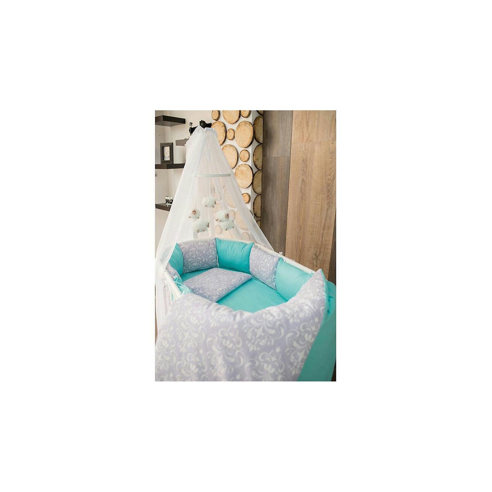 Постельное белье для круглых кроваток Дамаск, 7 предм., by Twinz , мятныйПостельное бельё<br>Характеристики:<br><br>• Материал: хлопок, 100% <br>• Тематика рисунка: цветы<br>• Комплектация: <br> пододеяльник 105*145 см – 1 шт. <br> одеяло на холлофайбере 100*140 см – 1 шт. <br> простынь на резинке 70*80 см – 1 шт. <br> простынь на резинке 70*120 см – 1 шт. <br> наволочка 36*46 см – 1 шт. <br> подушка на холлофайбере 35*45 см – 1 шт. <br> бортики в виде подушек с завязками – 10 шт.<br>• Вес комплекта: 3 кг<br>• Размеры упаковки (Д*В*Ш): 58*58*18 см<br>• Особенности ухода: машинная стирка на щадящем режиме <br><br>Постельное белье представляет собой расширенную комплектацию – одеяло и подушка, пододеяльник, простыни и наволочка, бортики. Размеры изделий предназначены для детской кроватки круглой или овальной формы. <br><br>Постельное белье изготовлено из натурального хлопка, который обеспечивает комфорт и удобство для сна. Натуральная ткань обладает высокими гигиеническими свойствами и повышенной износоустойчивостью. Предусмотренные на простыни резинка и застежка на пододеяльнике позволяют изделиям надежно фиксироваться. <br><br>В комплекте предусмотрены бортики в виде подушек, которые оснащены съемными наволочками с завязками. Постельное белье для круглых кроваток Дамаск, 7 предм., by Twinz, мятный выполнено в брендовом дизайне с растительным принтом. <br><br>Постельное белье для круглых кроваток Дамаск, 7 предм., by Twinz, мятный можно купить в нашем интернет-магазине.<br><br>Ширина мм: 580<br>Глубина мм: 580<br>Высота мм: 180<br>Вес г: 3000<br>Возраст от месяцев: 0<br>Возраст до месяцев: 36<br>Пол: Унисекс<br>Возраст: Детский<br>SKU: 6765397