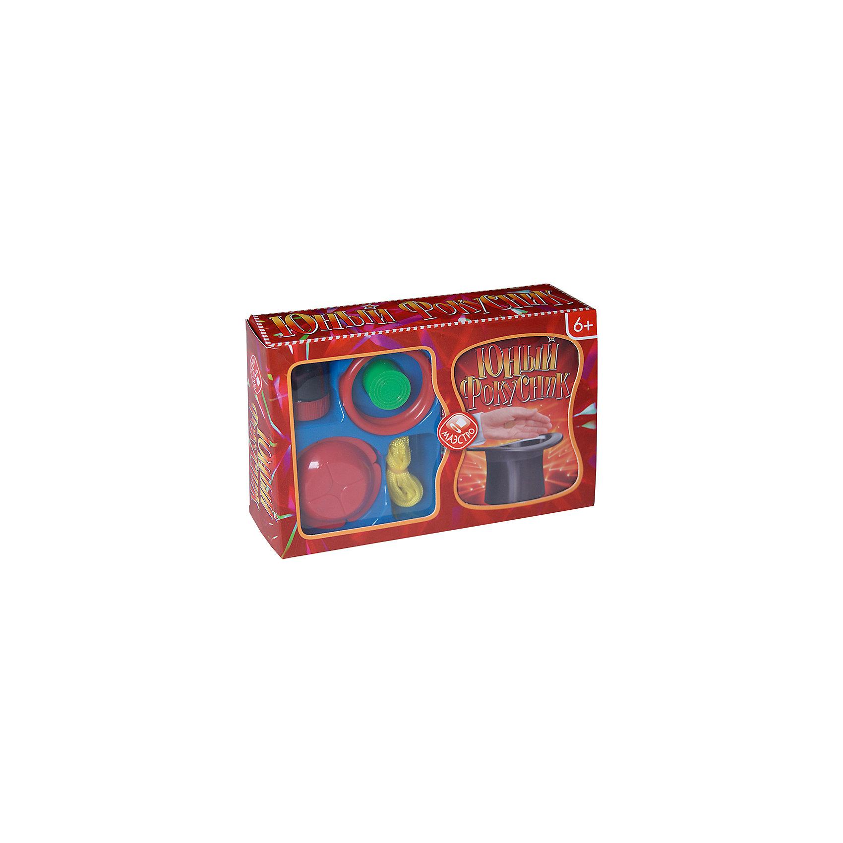 Юный фокусникФокусы и розыгрыши<br>У фокусника в карманах всегда полно разных чудесных волшебных вещей.<br>Каждый из этих обычных на первый взгляд предметов имеет свой секрет, а некоторые - даже сотни секретов!<br>Открывай, придумывай, показывай...<br>Состав:<br><br>Цветная книга-инструкция 48 страниц<br>2 сборных комплекта для фокусов с монетами<br>1 комплект для фокуса с игральным кубиком<br>2 пластиковых кольца<br>2 резиновых колечка<br>1 длинная веревка<br>2 тонкие веревки<br>2 веревочные петли<br><br>Ширина мм: 520<br>Глубина мм: 340<br>Высота мм: 370<br>Вес г: 500<br>Возраст от месяцев: 36<br>Возраст до месяцев: 144<br>Пол: Унисекс<br>Возраст: Детский<br>SKU: 6766261