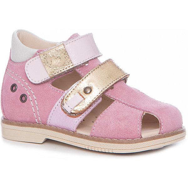 Сандалии для девочки TAPiBOOОртопедическая обувь<br>Характеристики товара:<br><br>• цвет: розовый<br>• внешний материал: натуральная кожа<br>• внутренний материал: натуральная кожа<br>• стелька: натуральная кожа<br>• подошва: ТЭП<br>• сезон: лето<br>• тип сандалей: с закрытым мысом<br>• застежка: липучка<br>• ортопедические <br>• жесткий задник <br>• страна бренда: Россия<br>• страна изготовитель: Россия<br><br>Сандалии для девочки TAPiBOO - это качественная ортопедическая обувь из натуральной кожи. Она позволяет предотвратить неправильное развитие стопы, при этом выглядит очень симпатично. Модель дополнена каблуком Томаса, подсводником и жестким задником.<br><br>Обувь TAPiBOO разрабатывается при помощи детских ортопедов, она уже завоевала популярность среди покупателей на всей территории России.<br><br>Сандалии для девочки TAPiBOO можно купить в нашем интернет-магазине.<br><br>Ширина мм: 219<br>Глубина мм: 154<br>Высота мм: 121<br>Вес г: 343<br>Цвет: розовый<br>Возраст от месяцев: 18<br>Возраст до месяцев: 21<br>Пол: Женский<br>Возраст: Детский<br>Размер: 23,30,29,28,27,26,25,24<br>SKU: 6766611