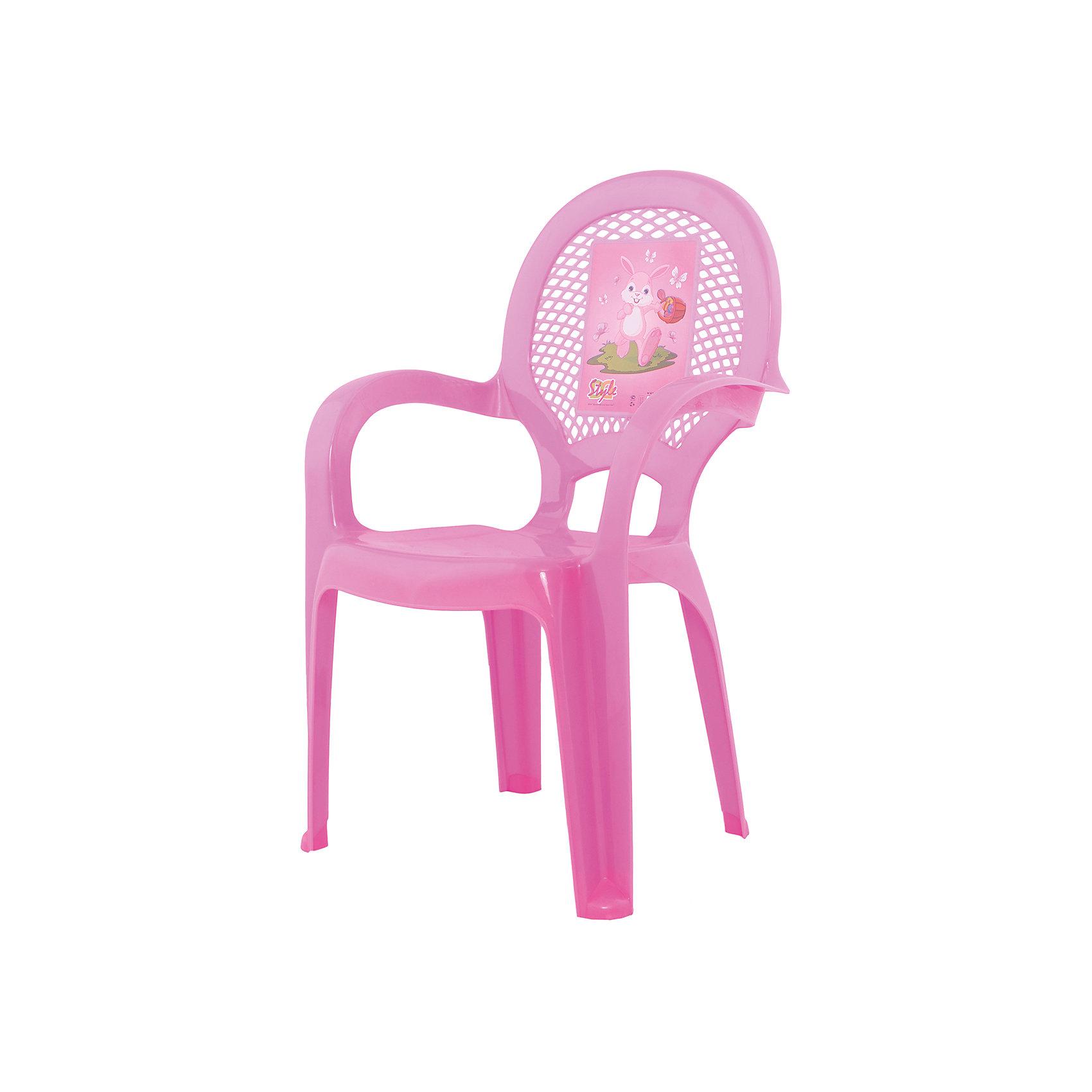 Стул Зайка, розовыйДетские столы и стулья<br>Яркий, удобный стульчик для вашего малыша. Изделие изготовлено из высококачественной пластмассы с использованием современных технологий. Все условия для комфорта вашего малыша: спинка высокая, на спинке имеется рисунок, спинка сетчатая, эргономичные подлокотники, форма компактная и удобная для хранения - стулья можно составить один в другой, легко моется водой с любым моющим средством. <br><br>Дополнительная информация:<br><br>Материал: пластик.<br>Размер: высота - 55 см.<br>Цвет: розовый.<br><br><br>Детский стульчик с рисунком в розовом цвете, можно купить в нашем магазине.<br><br>Ширина мм: 350<br>Глубина мм: 280<br>Высота мм: 570<br>Вес г: 600<br>Возраст от месяцев: 24<br>Возраст до месяцев: 84<br>Пол: Унисекс<br>Возраст: Детский<br>SKU: 6767436