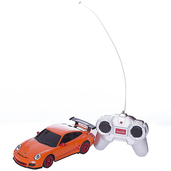 Радиоуправляемая машина Porsche GT3 RS 1:24, RASTAR, оранжеваяРадиоуправляемые машины<br>Характеристики товара:<br><br>• возраст: от 6 лет;<br>• материал: пластик;<br>• в комплекте: машина, пульт;<br>• тип батареек: 5 батареек АА (для машины), 1 батарейка 9V (для пульта);<br>• наличие батареек: в комплект не входят;<br>• масштаб машины: 1:24;<br>• длина машины: 18,5 см;<br>• дальность пульта: 45 метров;<br>• размер упаковки: 38,5х12х10 см;<br>• вес упаковки: 480 гр.;<br>• страна производитель: Китай.<br><br>Радиоуправляемая машина Porsche GT3 RS Rastar оранжевая представляет собой уменьшенную в масштабе 1:24 копию настоящего автомобиля. Управляется машина при помощи пульта управления. Она может ездить вперед, поворачивать, разворачиваться, сдавать назад. При помощи пульта можно отрегулировать скорость движения. При движении у машинки горят фары. Прорезиненные колеса обеспечивают хорошее сцепление и плавный ход. Машинка способна достигать скорости до 12 км/час. Изготовлена из качественного прочного пластика.<br><br>Радиоуправляемую машину Porsche GT3 RS Rastar оранжевую можно приобрести в нашем интернет-магазине.<br><br>Ширина мм: 120<br>Глубина мм: 100<br>Высота мм: 385<br>Вес г: 480<br>Возраст от месяцев: 72<br>Возраст до месяцев: 2147483647<br>Пол: Мужской<br>Возраст: Детский<br>SKU: 6767708