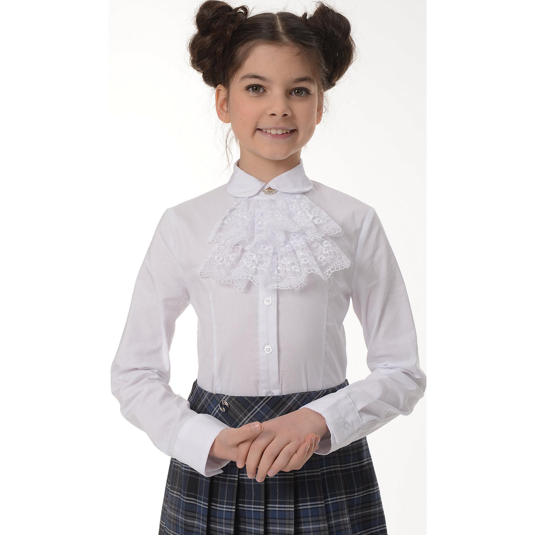 Блузка Тая для девочки SkylakeБлузки и рубашки<br>Блузка   для девочек младшего и среднего  школьного возраста.<br>Изготовлена из  смесовой хлопковой ткани белого  цвета.<br>Блузка  полуприлегающего силуэта .<br>Полочка  и спинка с талиевыми вытачками.<br>Застежка на узкую притачную планку с пуговицами.<br>Воротник отложной на отрезной стойке с концами круглой формы.<br>К стойке воротника с помощью двух пуговиц пристегивается  декоративное жабо, выполненное из кружева на сетке. <br>Рукава  втачные длинные на манжетах.<br>Манжеты с застежкой на одну пуговицу.<br><br>Состав:<br>74%хлопок,23%п/э,3%лайкра<br><br>Ширина мм: 186<br>Глубина мм: 87<br>Высота мм: 198<br>Вес г: 197<br>Цвет: белый<br>Возраст от месяцев: 144<br>Возраст до месяцев: 156<br>Пол: Женский<br>Возраст: Детский<br>Размер: 158,128,134,140,146,152<br>SKU: 6772476