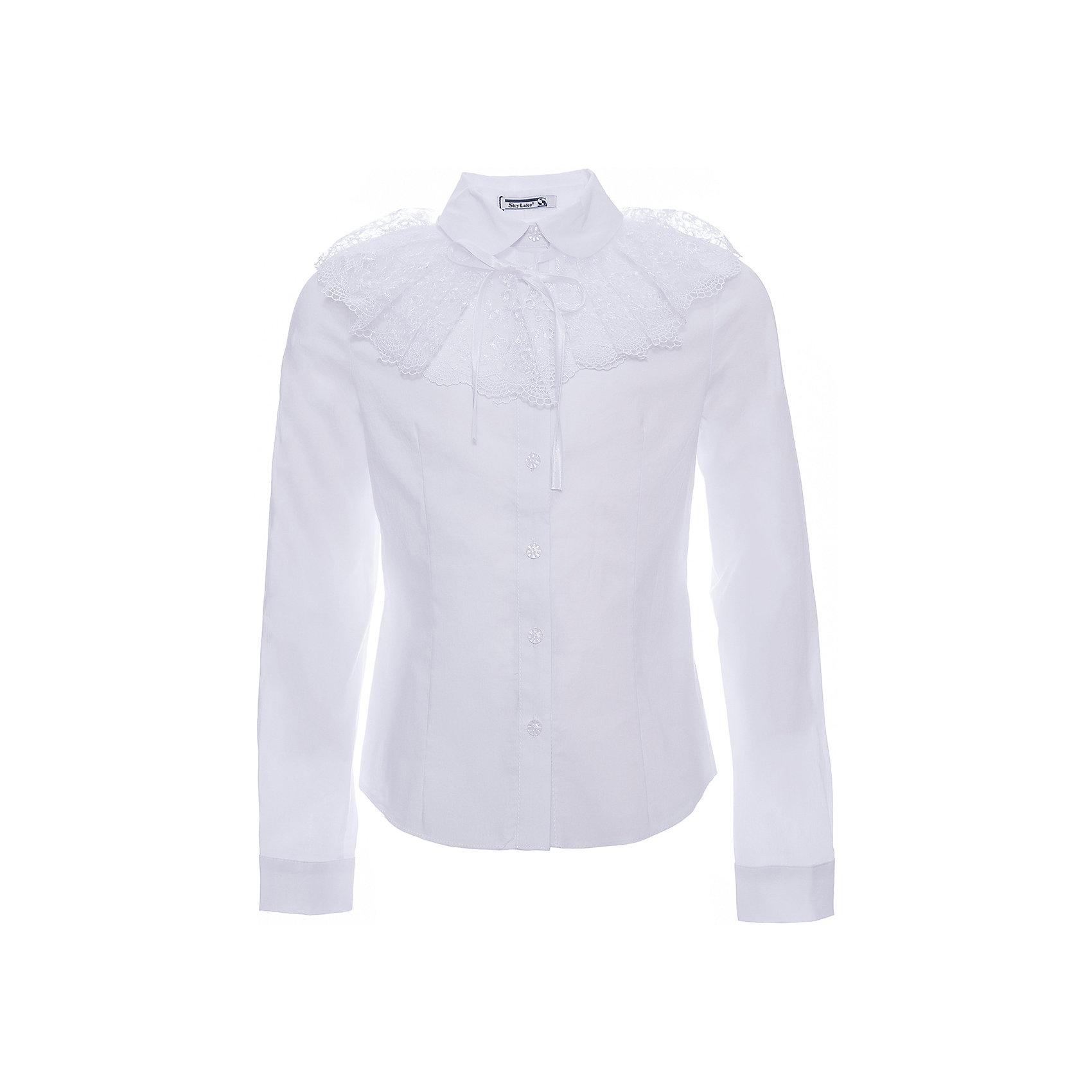 Блузка Эля для девочки SkylakeБлузки и рубашки<br>Характеристики товара:<br><br>• цвет: белый<br>• материал: 74% хлопок, 23% полиэстер, 3% лайкра<br>• манжеты на пуговицах<br>• отложной воротник<br>• застежки: пуговицы<br>• декорирована отстегивающимся воротником<br>• длинные рукава<br>• страна бренда: Российская Федерация<br>• страна производства: Российская Федерация<br><br>Школьная блузка с длинным рукавом для девочки. Однотонная блузка  прилегающего силуэта со съемным воротником. Застежка на узкую притачную планку с пуговицами. Воротник отложной на отрезной стойке. Концы воротника круглой формы.  Декоративный  большой  съемный воротник выполнен из вышитого капронового кружева. Крепится на завязках.  Рукава  втачные длинные на манжетах. Манжеты с застежкой на одну пуговицу.<br><br>Блузку Эля для девочки от бренда SKY LAKE (Скай Лэйк) можно купить в нашем интернет-магазине.<br><br>Ширина мм: 186<br>Глубина мм: 87<br>Высота мм: 198<br>Вес г: 197<br>Цвет: белый<br>Возраст от месяцев: 132<br>Возраст до месяцев: 144<br>Пол: Женский<br>Возраст: Детский<br>Размер: 152,128,158,146,140,134<br>SKU: 6772489