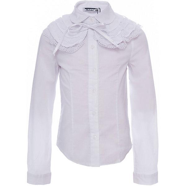 Блузка Веста для девочки SkylakeБлузки и рубашки<br>Характеристики товара:<br><br>• цвет: белый<br>• материал: 74% хлопок, 23% полиэстер, 3% лайкра<br>• манжеты на пуговицах<br>• отложной воротник<br>• застежки: пуговицы<br>• отстегивающийся воротник<br>• длинные рукава<br>• страна бренда: Российская Федерация<br>• страна производства: Российская Федерация<br><br>Школьная блузка с длинным рукавом для девочки. Однотонная блузка  прилегающего силуэта  со съемным воротником. Застежка на узкую притачную планку с пуговицами. Воротник отложной на отрезной стойке. Концы воротника круглой формы. Декоративный  большой  съемный воротник выполнен из смесовой хлопковой ткани. Оформлен тремя рядами рюшей с отделкой по краю  узким кружевом. Крепится на завязках. Рукава  втачные длинные на манжетах. Манжеты с застежкой на одну пуговицу.<br><br>Блузку Веста для девочки от бренда SKY LAKE (Скай Лэйк) можно купить в нашем интернет-магазине.<br>Ширина мм: 186; Глубина мм: 87; Высота мм: 198; Вес г: 197; Цвет: белый; Возраст от месяцев: 84; Возраст до месяцев: 96; Пол: Женский; Возраст: Детский; Размер: 128,158,134,140,146,152; SKU: 6772496;