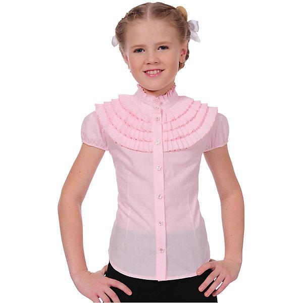 Блузка Клео для девочки SkylakeБлузки и рубашки<br>Характеристики товара:<br><br>• цвет: розовый<br>• материал: 65% полиэстер, 35% хлопок<br>• классический силуэт<br>• воротник: стойка<br>• застежки: пуговицы<br>• декорирована оборками<br>• короткие рукава<br>• страна бренда: Российская Федерация<br>• страна производства: Российская Федерация<br><br>Школьная блузка с коротким рукавом для девочки. Розовая блузка застегивается спереди на планку с пуговицами. Воротник стойка с плиссированной оборкой. Рукава-фонарики на резинке. Верхняя часть грудки украшена несколькими рядами плиссированных оборок. Полочки и спинка с талиевыми вытачками.<br><br>Блузку Клео для девочки от бренда SKY LAKE (Скай Лэйк) можно купить в нашем интернет-магазине.<br><br>Ширина мм: 186<br>Глубина мм: 87<br>Высота мм: 198<br>Вес г: 197<br>Цвет: розовый<br>Возраст от месяцев: 132<br>Возраст до месяцев: 144<br>Пол: Женский<br>Возраст: Детский<br>Размер: 152,128,146,140,134<br>SKU: 6772515