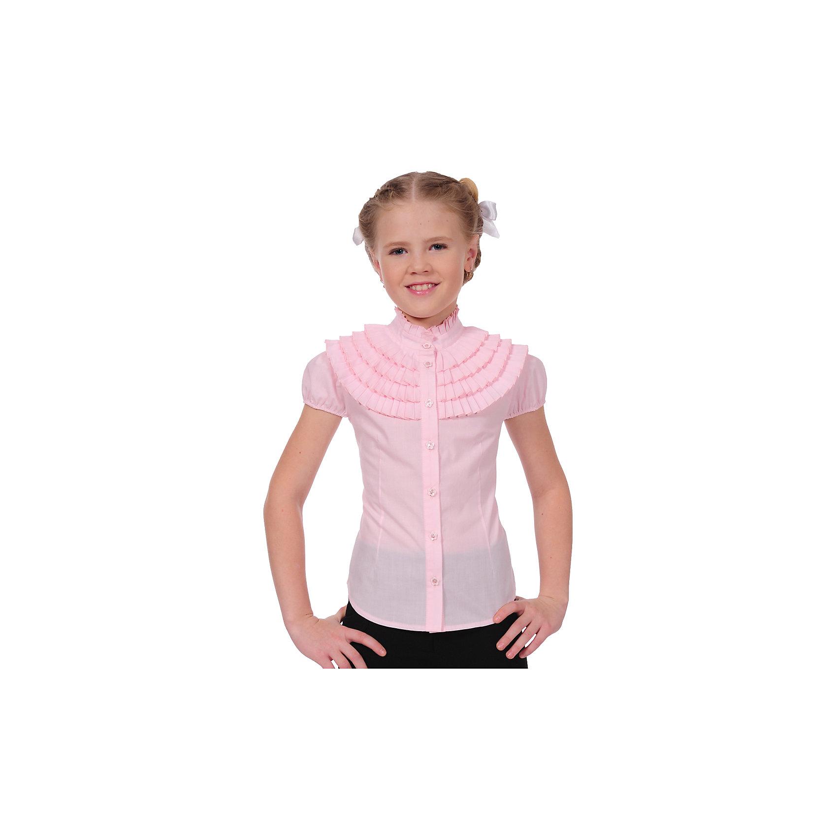Блузка Клео для девочки SkylakeБлузки и рубашки<br>Розовая  блузка для девочек младшего и среднего возраста.<br>Застежка  спереди на планку  с пуговицами.<br>Воротник  стойка с плиссированной оборкой<br>Рукава  короткие - фонарик на резинке.<br>Верхняя часть грудки украшена несколькими рядами плиссированных оборок.<br>Полочки и спинка с талиевыми вытачками.<br>Состав:<br> 65%полиэстер,35% хлопок<br><br>Ширина мм: 186<br>Глубина мм: 87<br>Высота мм: 198<br>Вес г: 197<br>Цвет: розовый<br>Возраст от месяцев: 84<br>Возраст до месяцев: 96<br>Пол: Женский<br>Возраст: Детский<br>Размер: 128,152,134,140,146<br>SKU: 6772515
