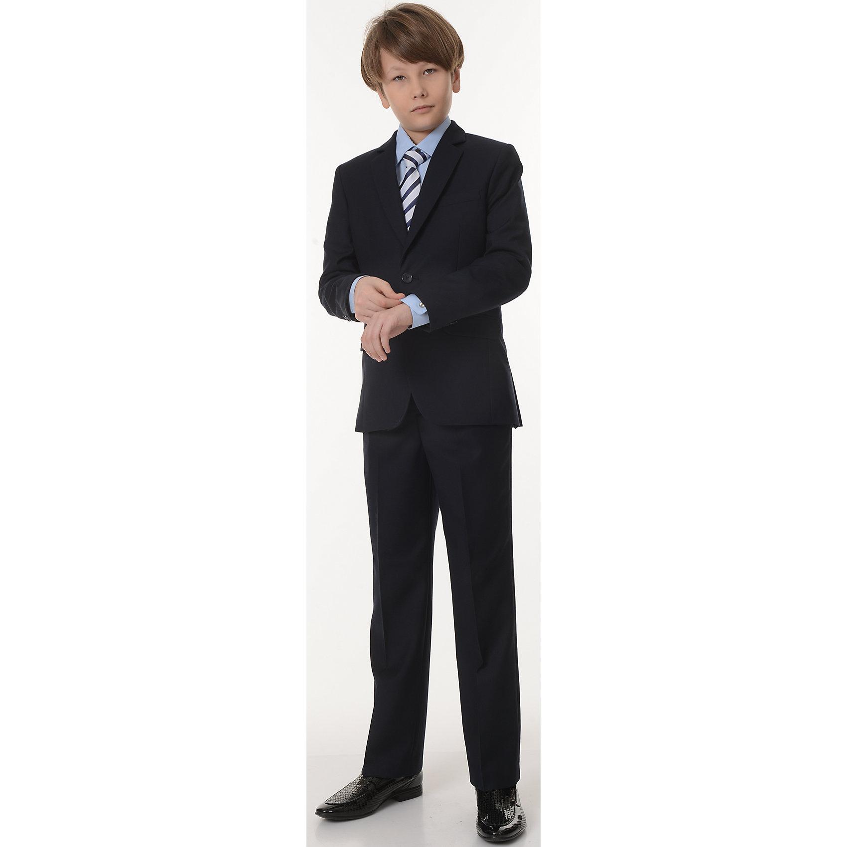 Пиджак Дэвид для мальчика SkylakeКостюмы и пиджаки<br>Характеристики товара:<br><br>• цвет: синий<br>• материал: 70% полиэстер, 30% вискоза; <br>• подкладка: 47% вискоза, 53% полиэстер<br>• сезон: демисезон<br>• прилегающий силуэт<br>• однобортный<br>• воротник отложной<br>• карман<br>• на подкладке<br>• застежки: пуговицы<br>• страна бренда: Российская Федерация<br>• страна производства: Российская Федерация<br><br>Школьный пиджак для мальчика. Классический пиджак синего цвета. Однобортный  пиджак прилегающего силуэта с застежкой на 2 петли и пуговицы. Лацканы пиджака удлиненные узкие. Края  борта со скосом от второй нижней пуговицы и закруглением к линии низа.  <br><br>Полочки с  вытачками,  отрезными боковыми частями и боковыми косыми прорезными  карманами в «рамку»  с клапанами. На левой полочке  нагрудный  карман в листочку. Спинка со средним швом и  двумя шлицами.<br><br>Рукава втачные, двухшовные с тремя пуговицами внизу по линии локтевого шва. Воротник отложной,  верхний воротник со стойкой, нижний воротник из  фильца. Пиджак на подкладке  с  одним  внутренним  прорезным  карманом  «в рамку» из основной ткани на левой полочке. <br><br>Пиджак Дэвид для мальчика от бренда SKY LAKE (Скай Лэйк) можно купить в нашем интернет-магазине.<br><br>Ширина мм: 190<br>Глубина мм: 74<br>Высота мм: 229<br>Вес г: 236<br>Цвет: синий<br>Возраст от месяцев: 144<br>Возраст до месяцев: 156<br>Пол: Мужской<br>Возраст: Детский<br>Размер: 158,140,128,134,146,152<br>SKU: 6772634