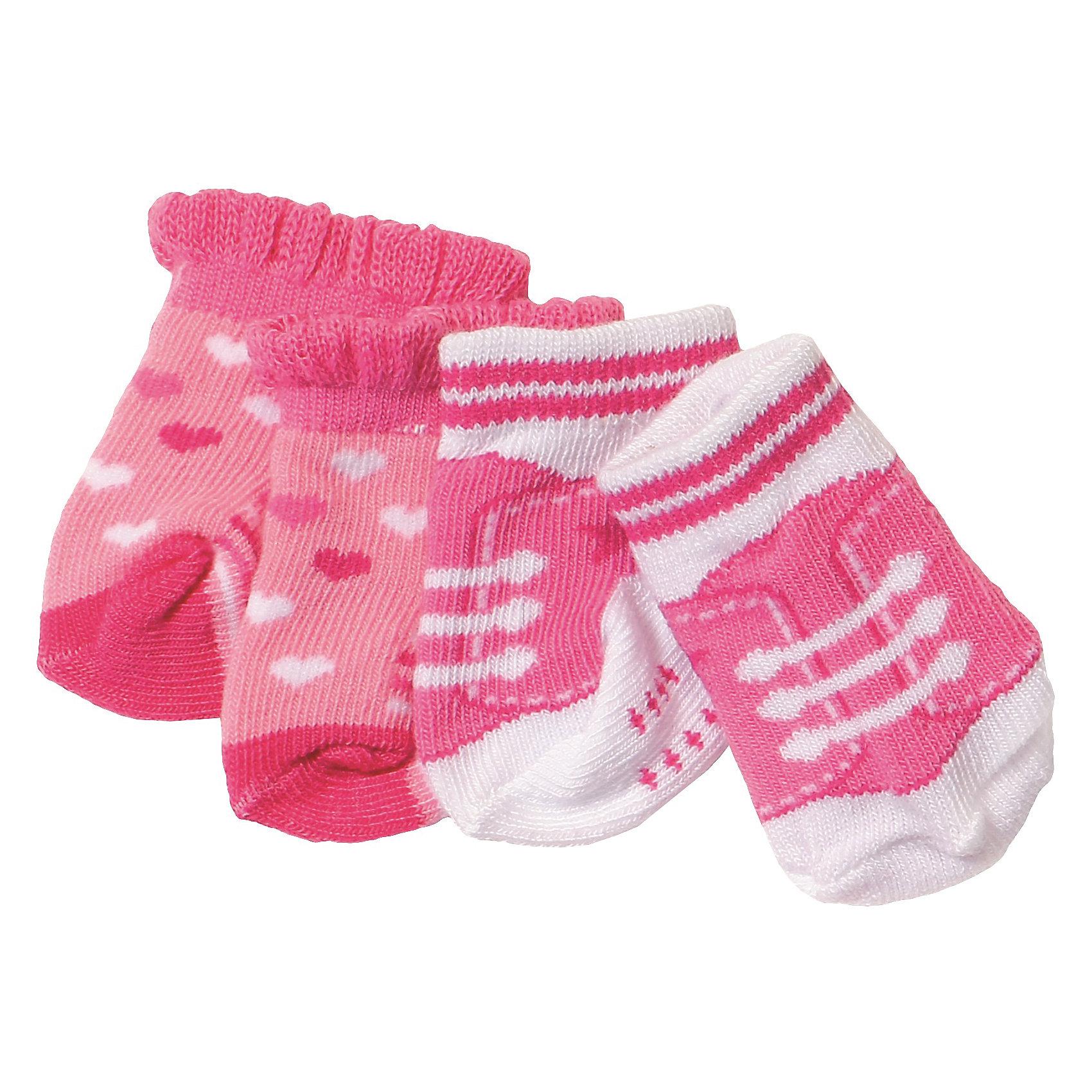 Носочки, 2 пары, BABY bornКукольная одежда и аксессуары<br>Характеристики товара:<br><br>• возраст: от 3 лет;<br>• материал: текстиль;<br>• в комплекте: 2 пары носочков;<br>• размер упаковки: 14х12х1 см;<br>• вес упаковки: 15 гр.;<br>• страна производитель: Китай.<br><br>Носочки 2 пары Baby Born дополнят гардероб любимой куколки Baby Born и согреют ее в прохладное время. Носочки выполнены из качественного мягкого материала.<br><br>Носочки 2 пары Baby Born можно приобрести в нашем интернет-магазине.<br><br>Ширина мм: 120<br>Глубина мм: 10<br>Высота мм: 140<br>Вес г: 34<br>Возраст от месяцев: 36<br>Возраст до месяцев: 60<br>Пол: Женский<br>Возраст: Детский<br>SKU: 6835378